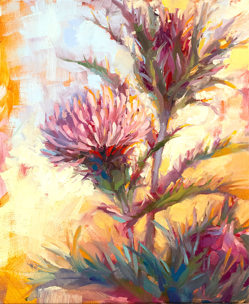'Horrible Thistle', oil on panel by Diana Augustine ($350) ⎼ 'In the past few months, I felt as though my world had been turned completely upside down. With new crises presenting themselves daily at the local, national, and International scale, it is easy to wallow in despair. But I have found, that often, across may result in some positive consequences in addition to the negative ones, if only I allow myself to see them. For me, one of the positive outcomes was spending more time outside, finding solace in nature and enjoying the beauty of creation. In spite of all of the turmoil of current human affairs, the sun keeps rising, and flowers still bloom. And my faith in the goodness of God is reaffirmed. The plant that inspired this painting is called a 'Horrible Thistle' and while I'm sure that stepping on it would be a painful experience, not everything about it is really horrible. Just like this crisis, in this thistle, beauty and goodness can be found if that is what we choose to focus on.'