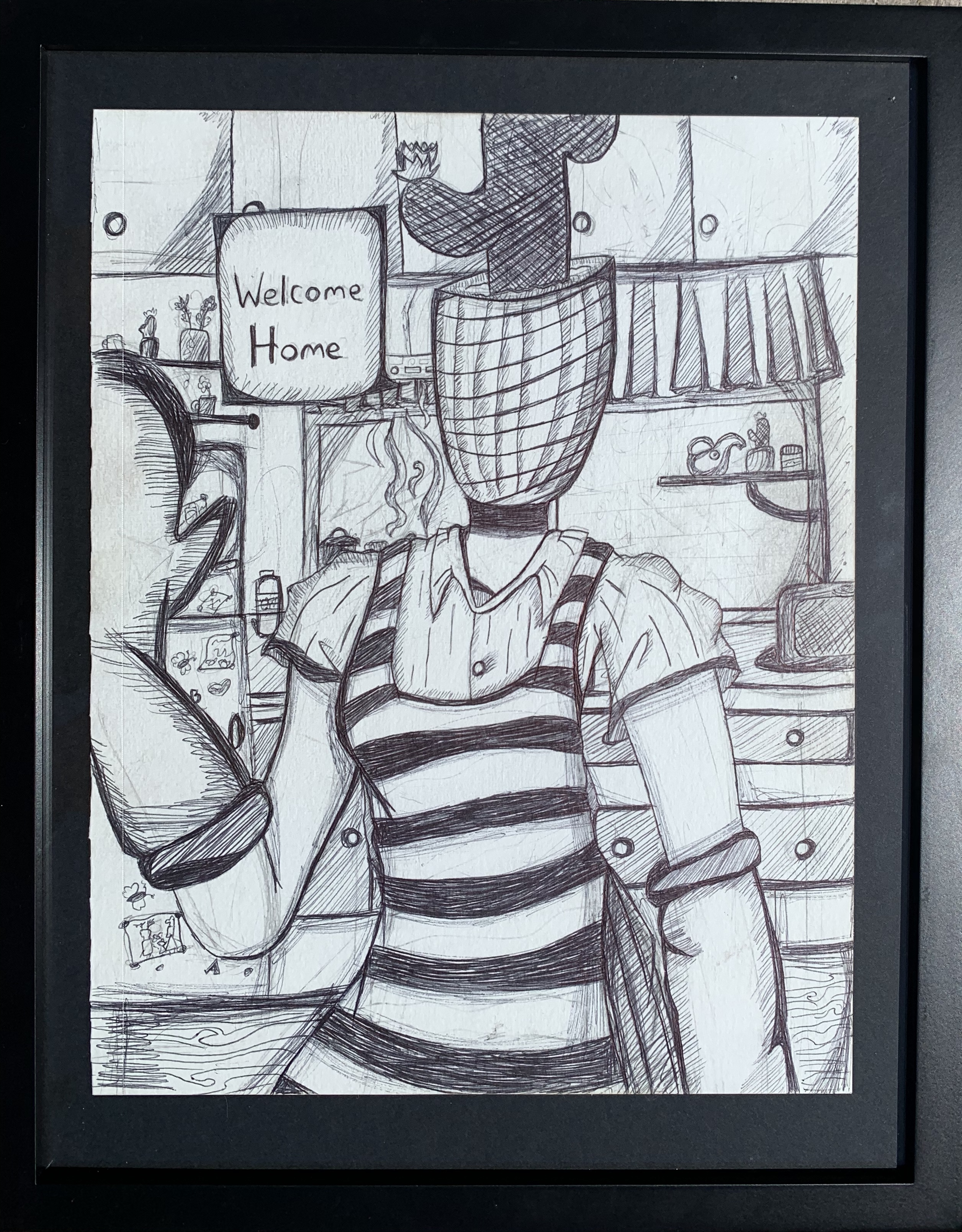 'Cactus Mom', pen & ink by ilayda Bekcan (NFS) ⎼ 'My mom has Covid patients. She loves me but is afraid to hug me because she doesn't want to get me sick.'