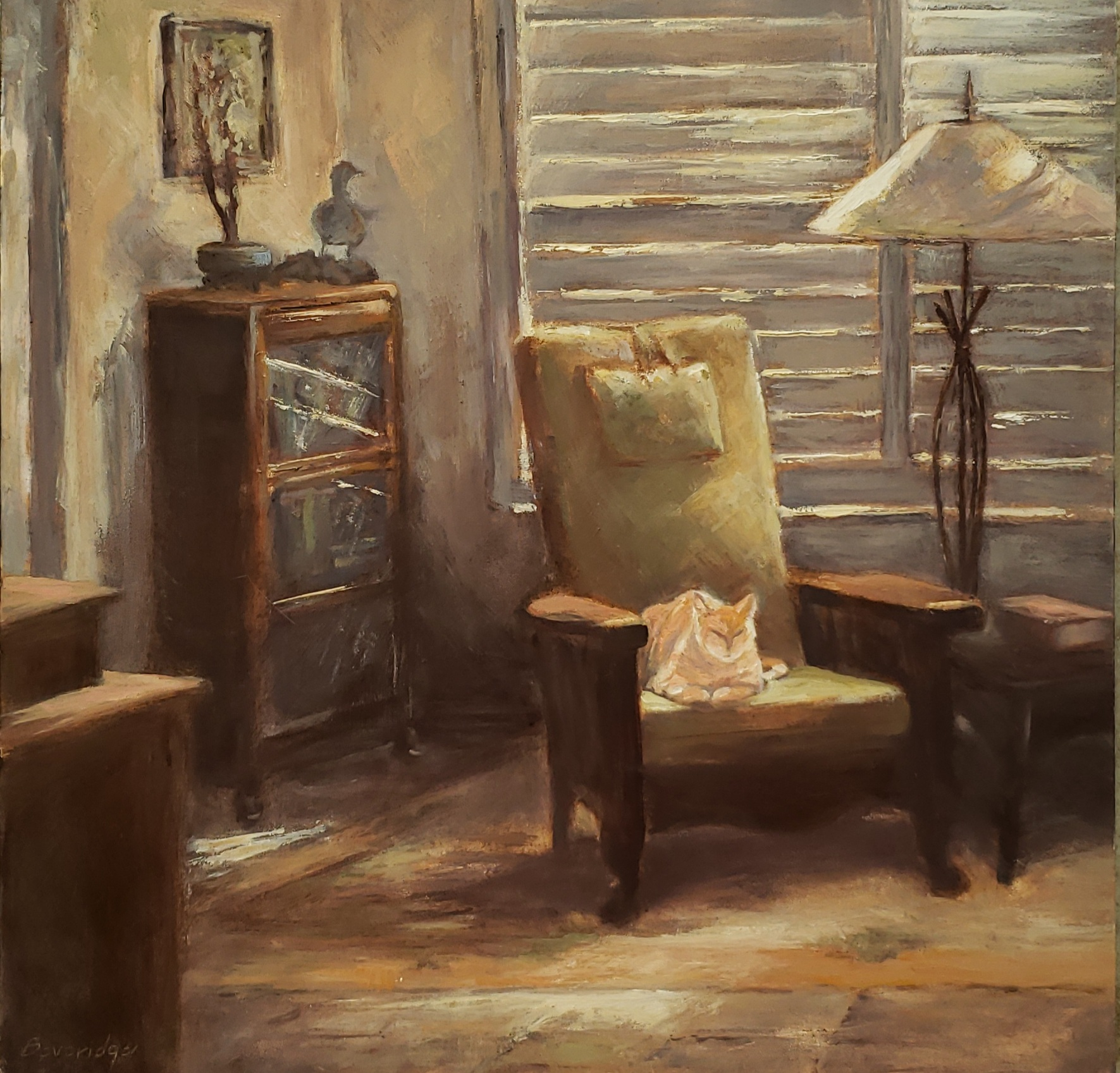 'Solace in the Time of Covid', oil on panel by Gail Beveridge ($500) ⎼ 'Being confined mainly to the house for the past six months, it has helped having my feline friend, Tebow, as a calming influence during these trying times.'