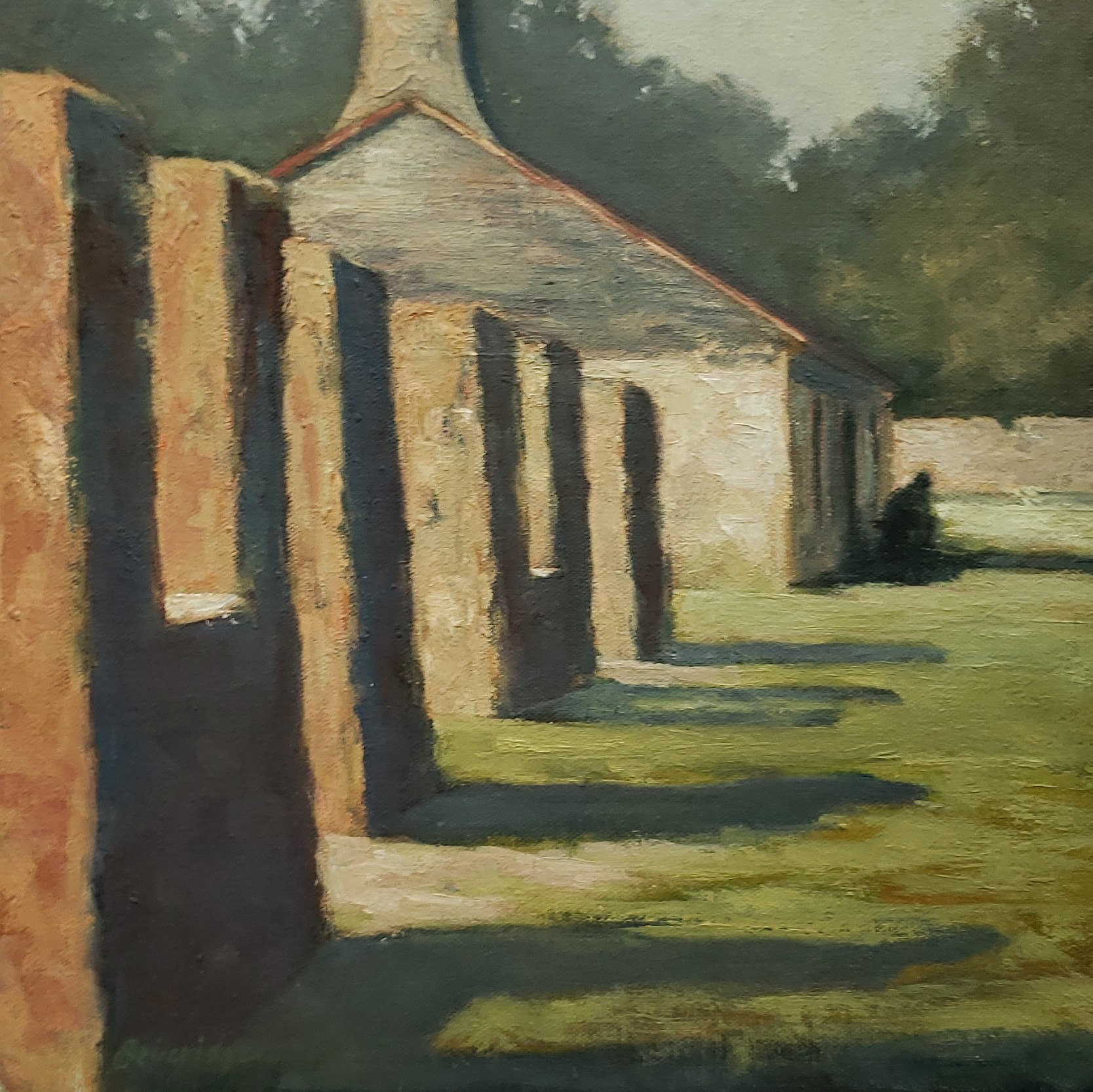 'Shadowed History', oil on panel by Gail Beveridge ($500) ⎼ 'In this time of social unrest, it's important to have a balanced historical narrative and the Kingsley Plantation on Fort George Island tries to do this by addressing life on a cotton plantation from the perspective of both the slave owner and his slaves. This painting was created from a plein air study done on site at that plantation. Early on that morning, the remnants of the slave quarters cast long shadows and a visitor sitting in front of one of the cabins presented a sobering image and the reminder of the cruel bondage that Black people endured on these plantations.'
