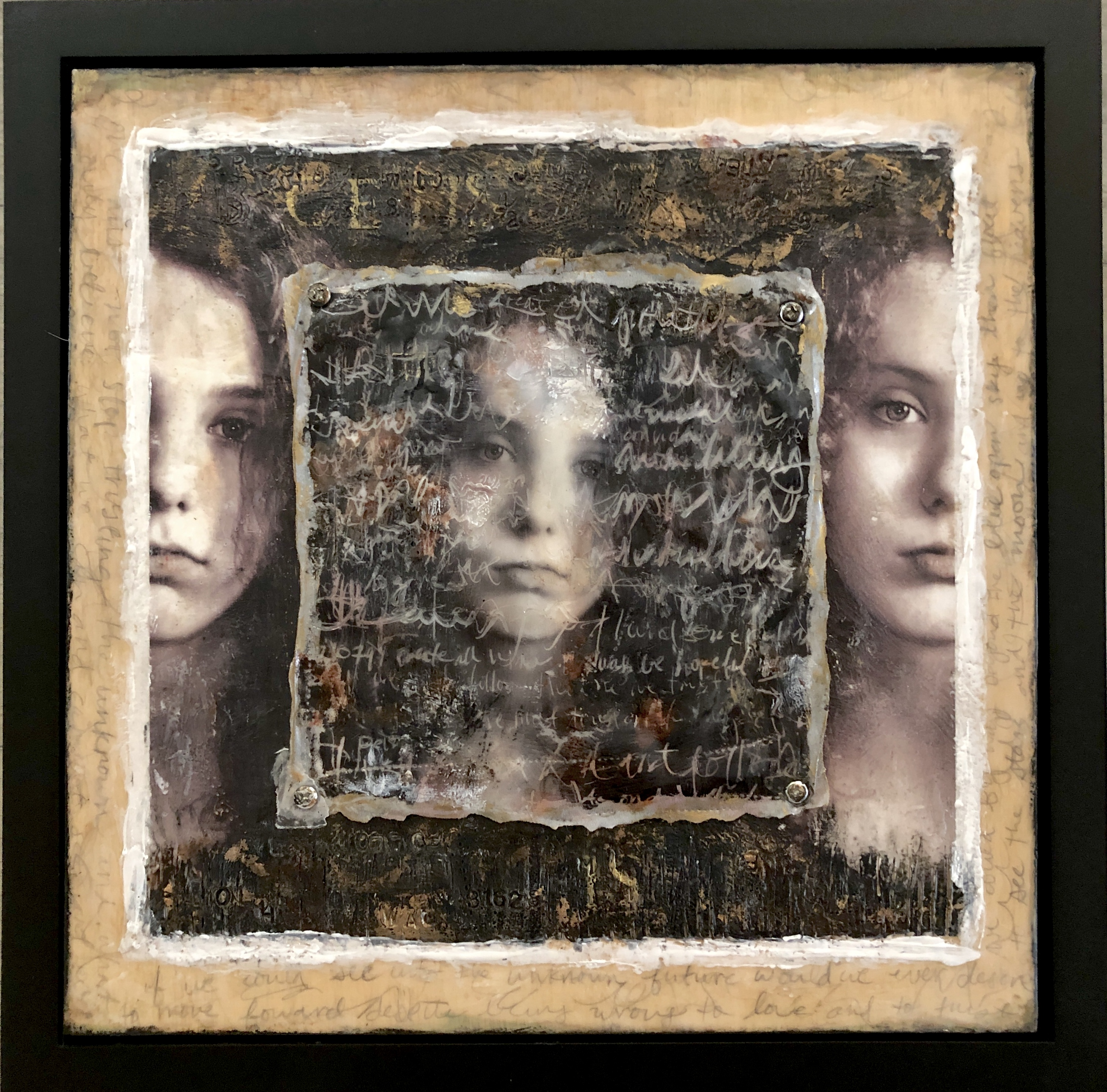 'The Voices in My Head', encaustic mixed media by Deanne Bushell ($3250)