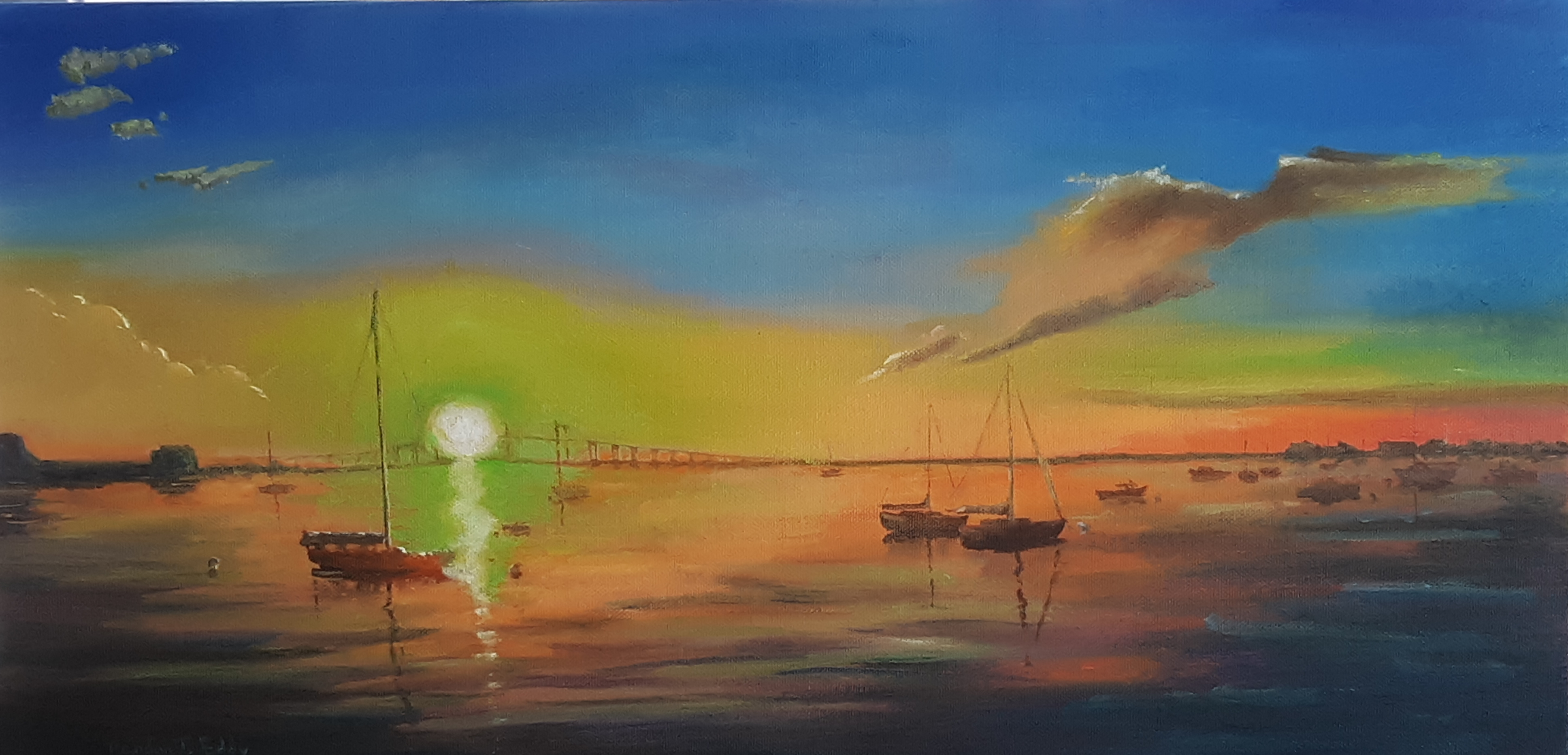 'Sunset Colors', oil by Randon Eddy ($450) ⎼ 'I found great joy escaping in all of these colors as opposed to the sad colors of the Coronavirus.'