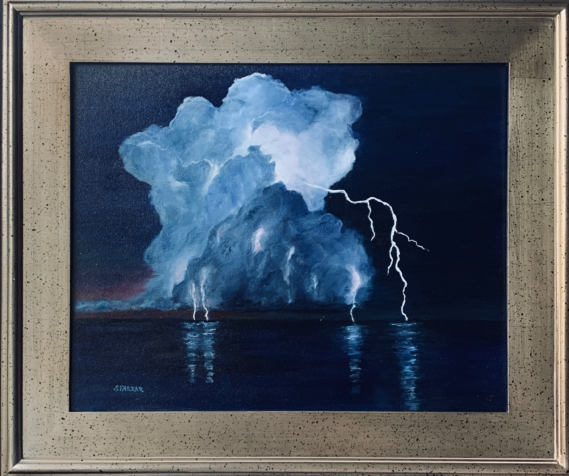 'Surrounding Storms', oil by Susan Farrar ($495) ⎼ 'We have all been experiencing stormy times these past months. It seems like ominous clouds are surrounding us and weighing us down. During the isolation, I have realized how much I can live without and the things I truly value and miss the most. Hopefully, we can all reflect on our experiences and continue to learn and grow through these uncertain times.'