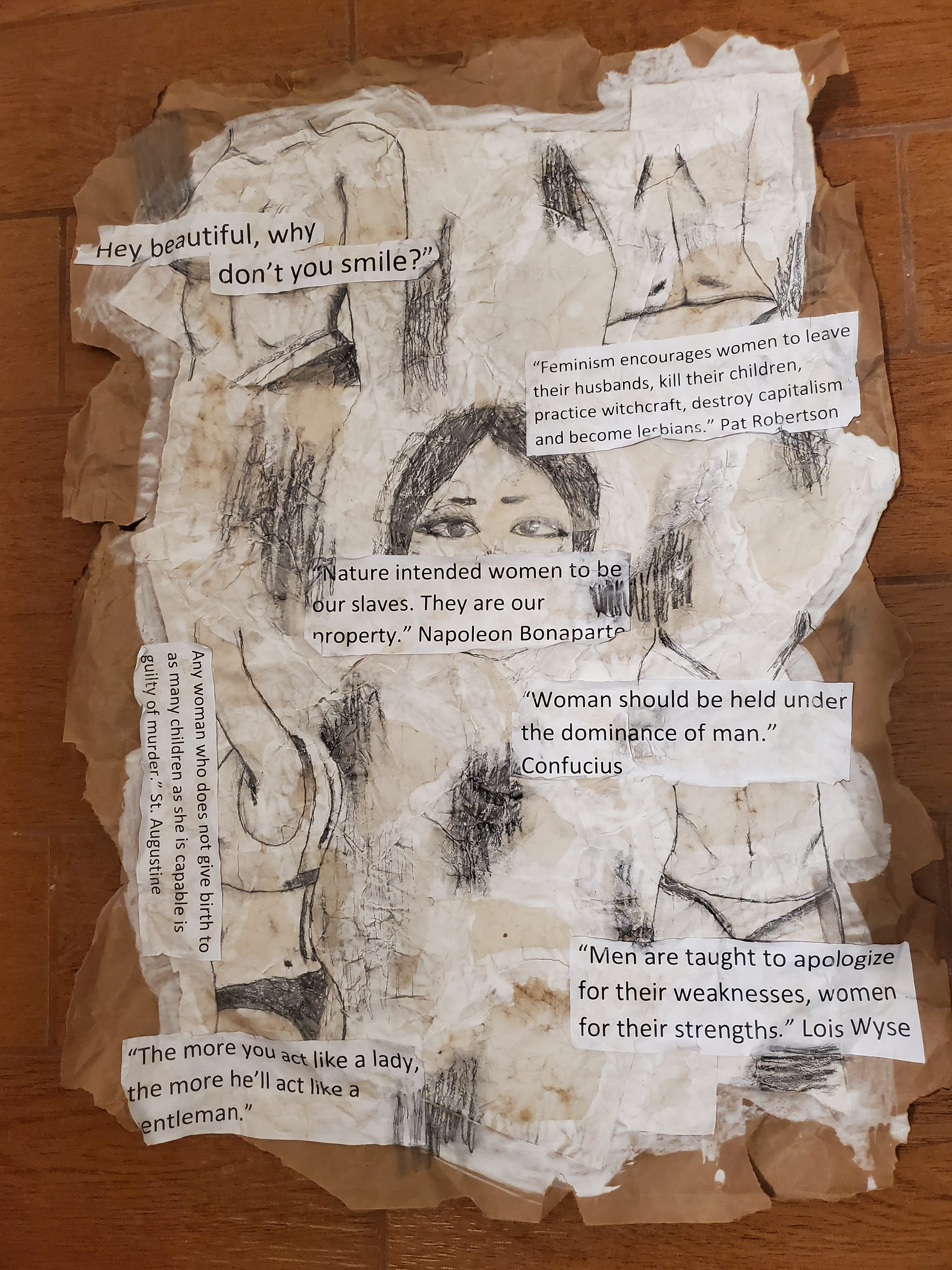 'The Objectified Woman', graphite by Cecelia Fowler ($150) ⎼ 'This piece was made for a school project where we were tasked with making a piece that exemplifies a social issue we could realte to. Various images of the female anatomy are drawn in and covered with misogynistic quotes to symbolize the erasure of the validity of women through history and into our current reality.'
