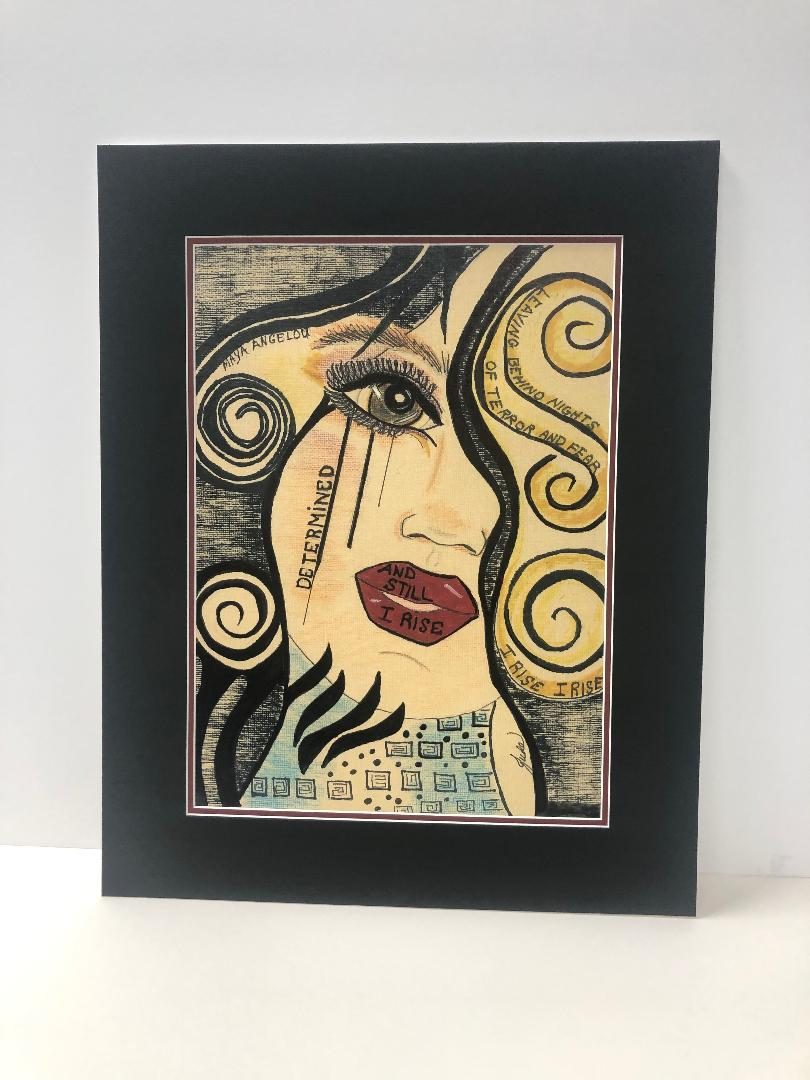 'And Still I Rise - Cinamon', mixed media by Judith Fox-Goldstein ($375) ⎼ ''And Still I Rise', a favored quote by Maya Angelou, is woven in this depiction of 'Cinamon'. As we all struggle with isolation, loss, grief, economic changes, job loss and finding out way to restructure our lives, the search for inner strength, resilience, fortitude and gratitude are those qualities that will allow us to move forward as we adjust to extraordinary and unexpected changes and challenges in our lives. The mantra of 'And Still I Rise' carries so much power and you can see the look of determination in Cinamon's eyes because... she knows... 'She will rise again!''