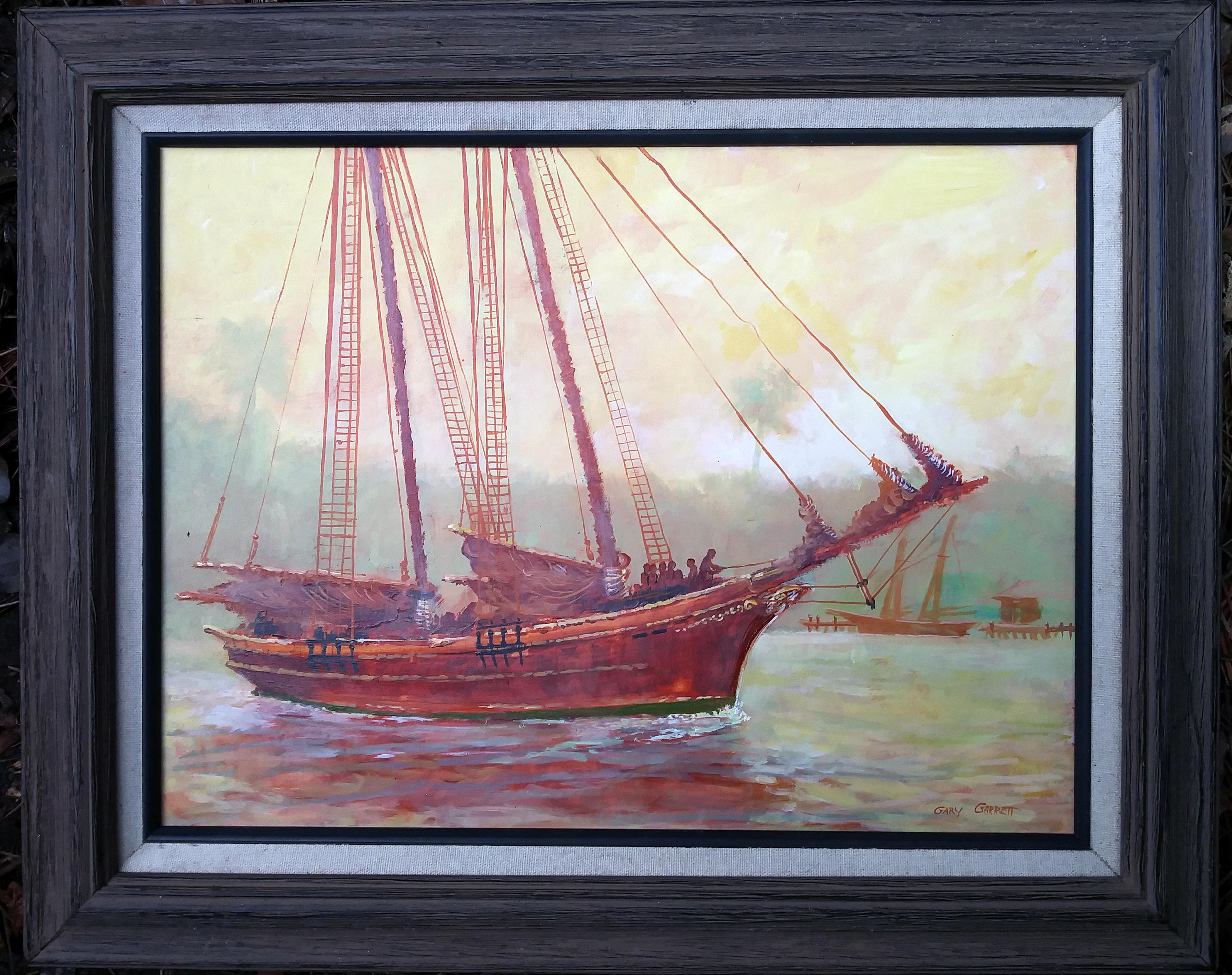 'Early Departure', acrylic by Gary Garrett ($185) ⎼ 'I am normally a plein air landscape painter, but due to the pandemic, I have not been out as much as I would like. This is a studio piece from a memory of a two masted schooner leaving Mayport in the early 1970s when I was in the navy and stationed at Mayport. It is painted with a minimum palette of Yellow Ochre, Prussian Blue, Titanium White and Burnt Sienna. I loved painting this memory, hope you will love it too.