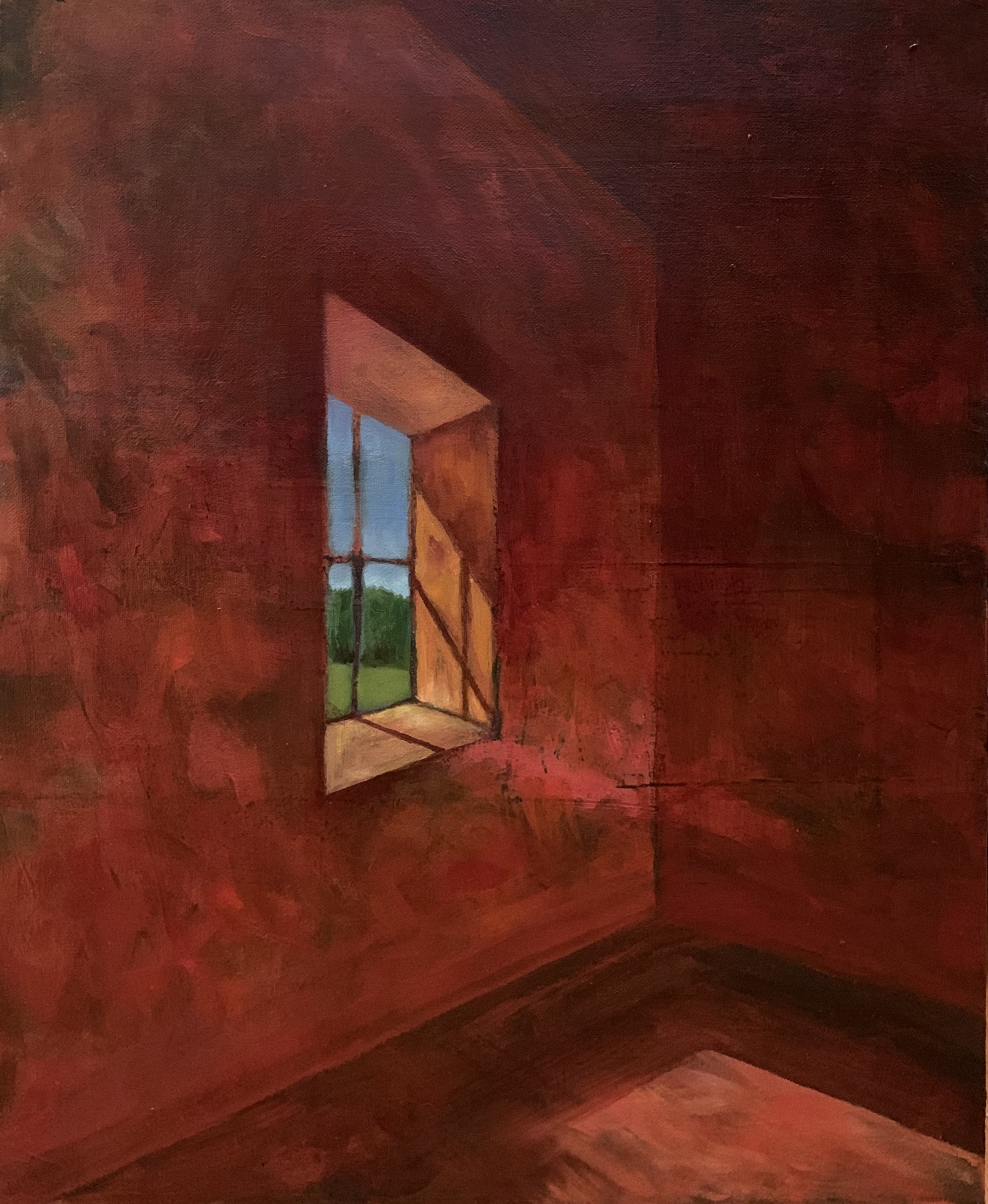 'Alone 3', oil on canvas by Ed Hall ($500) ⎼ 'This series deals with the loneliness and isolation that comes with a 100 year pandemic. Initially I was interested in the view through the window as a metaphor for longing, but in the final analysis the paintings became more about lonely interiors spaces and the stark reality of separation.'