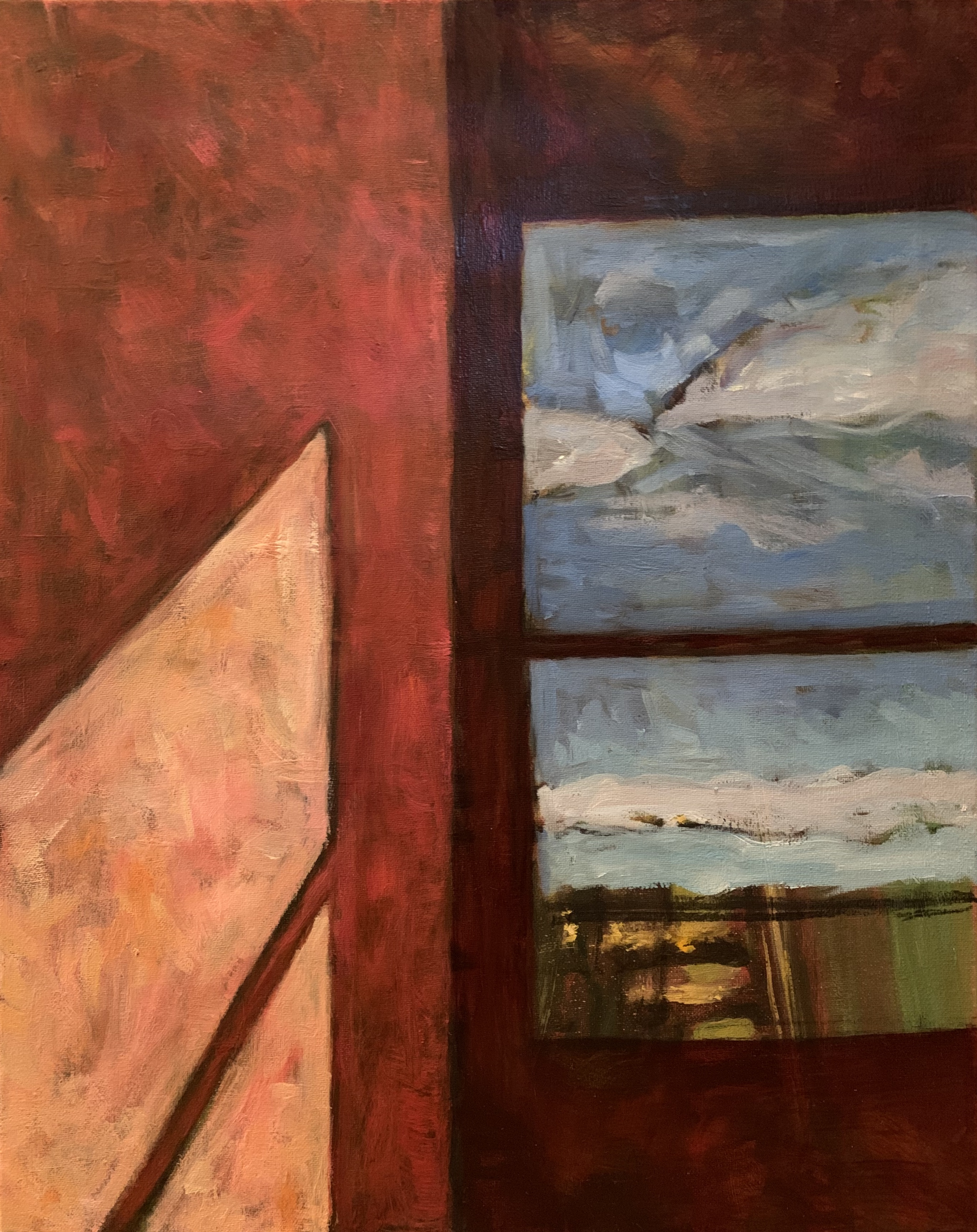 'Alone 6', oil on canvas by Ed Hall ($800) ⎼ 'This series deals with the loneliness and isolation that comes with a 100 year pandemic. Initially I was interested in the view through the window as a metaphor for longing, but in the final analysis the paintings became more about lonely interiors spaces and the stark reality of separation.'
