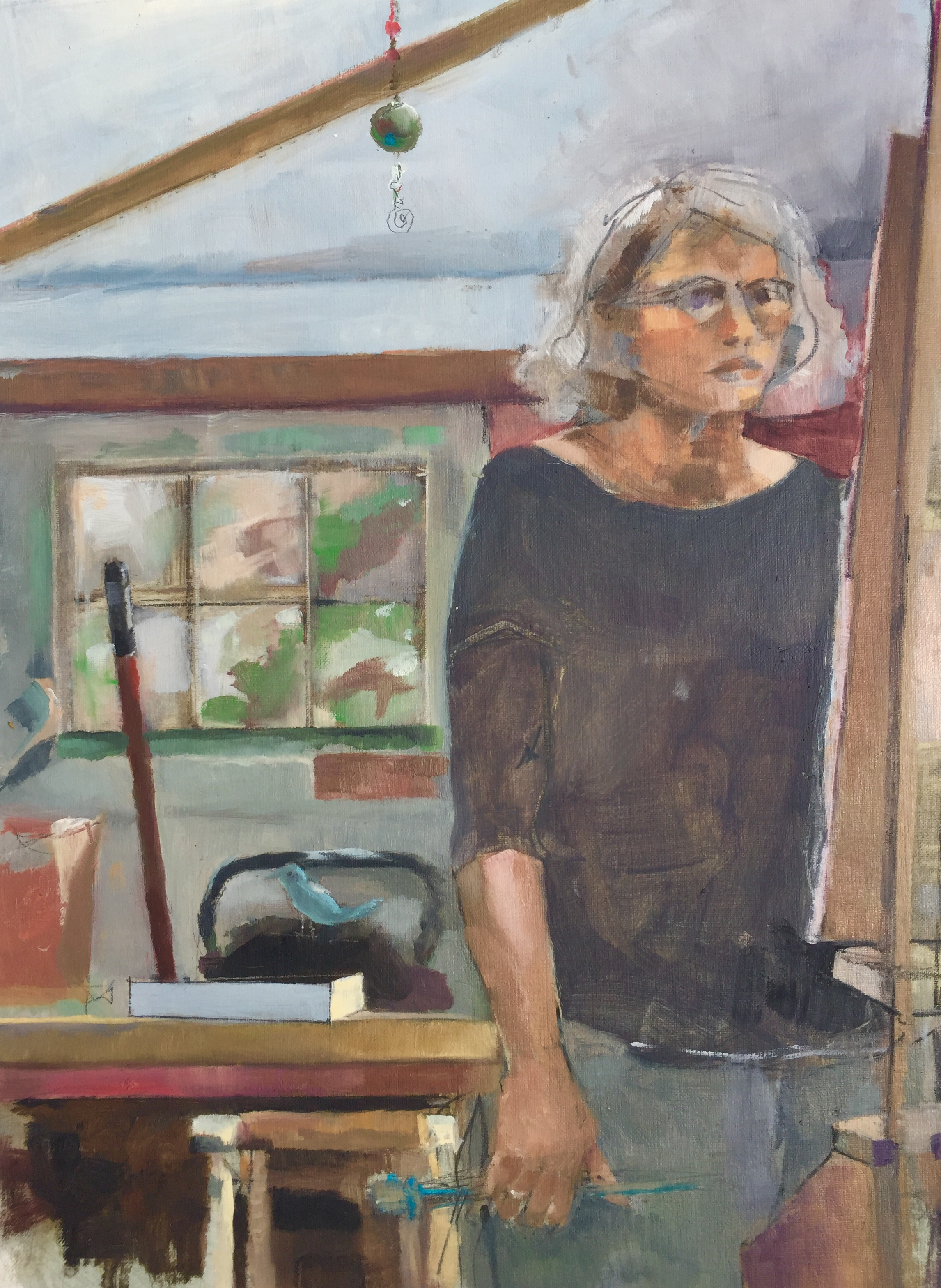 'Self in Studio World', oil on paper by Nancy Hamlin-Vogler (NFS) ⎼ 'This painting is part of a series of self portraits in the studio, while practicing oil painting techniques. I have quite a penchant for mirror reflections while observing light and shadow details. I have a readily available model for these studies! Not yet for sale.'