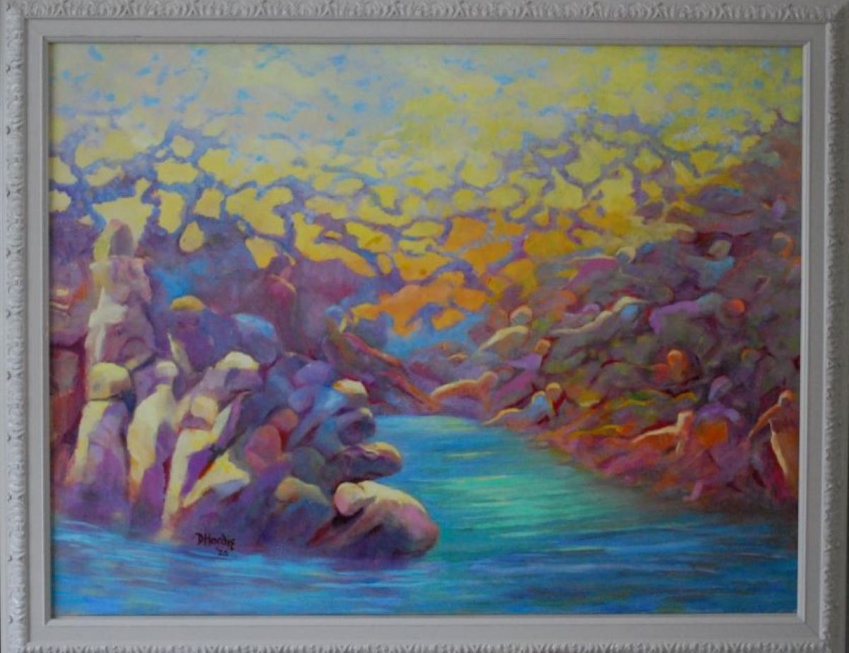 'The Rock Cries Out to Us Today', oil by Doreen Hardie ($2,000) ⎼ 'During this trying time of COVID-19, I was reminded of the Scripture that tells us that the time is coming with people who will run to the rock and they will ask the rock to hide them. This might not be the time, but who knows.'