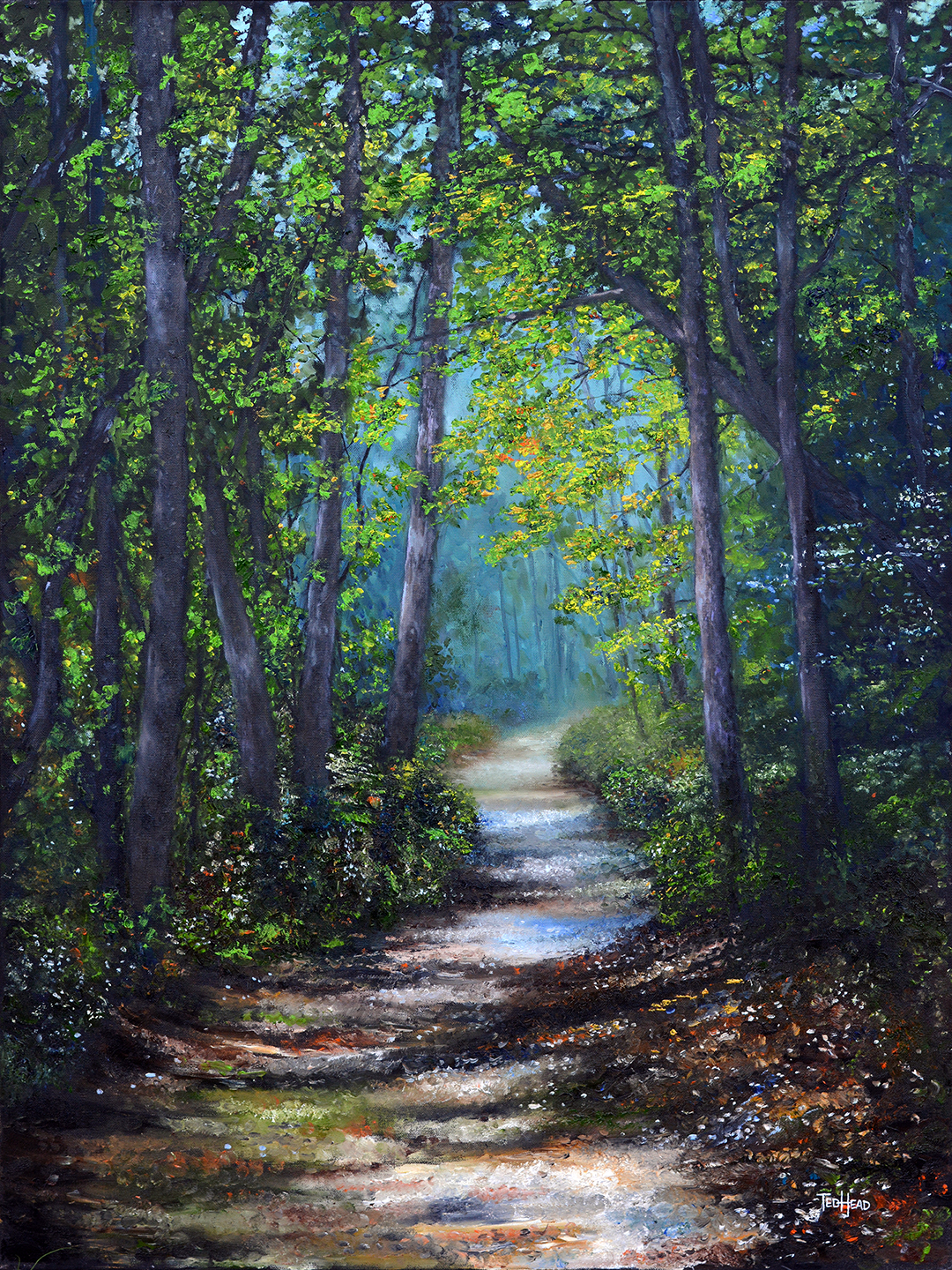 'Passages', oil on canvas by Ted Head ($3,600) ⎼ 'We're all on a journey, and none of us knows what lies just around the corner. Because of these unsettled times, I painted a series of peaceful scenes depicting trails and paths, allowing the viewer to surround themselves with the beauty of the unknown, and moving toward what lies ahead.'
