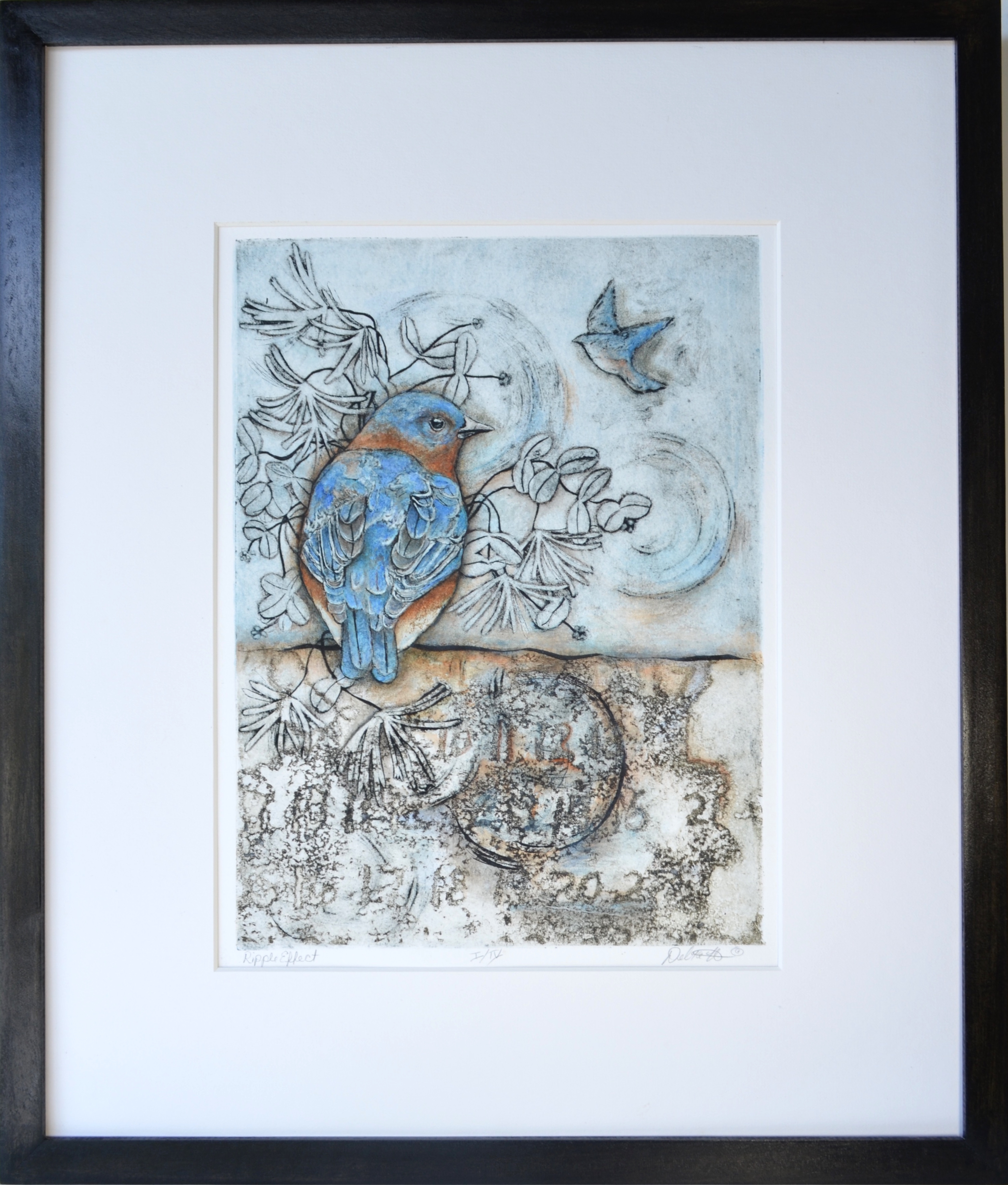 'Ripple Effect', collagraph with mixed media by Debra Mixon Holliday ($195) ⎼ 'Being at home for much of 2020 due to the pandemic, I noticed the typical arrival of spring with all of its hallmarks and yet time and the passing of days has been anything but normal. I started a series of collagraphs with mixed media to explore this idea, aligning birds as nature's symbols alongside manmade indicators of time. In 'Ripple Effect', the result conjures a page torn from a calendar, somewhat distorted and not quite decipherable.'