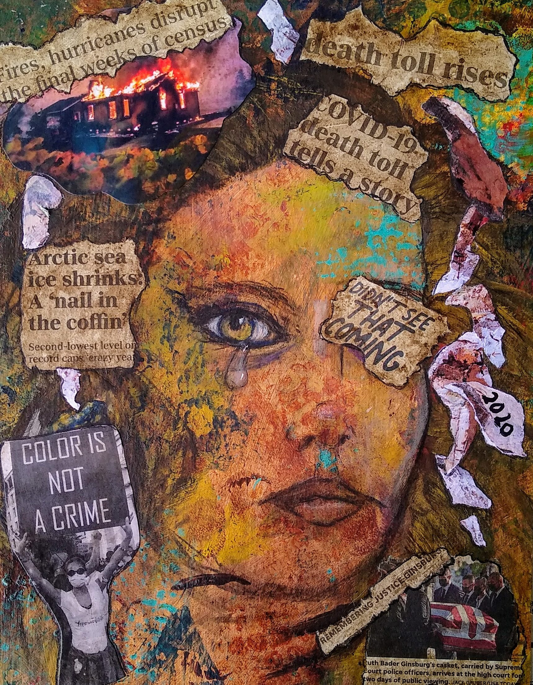 'My World Torn to Pieces -- Didn't See It Coming!', mixed media by Gail Husveth (NFS) ⎼ 'This was a very emotionally difficult artwork for me as I usually want to paint joyful, colorful work. Started with the portrait done in charcoal, then stenciled colors and after added the newspaper clippings which reflect the world today. 2020 has been a very sad year for many people.'