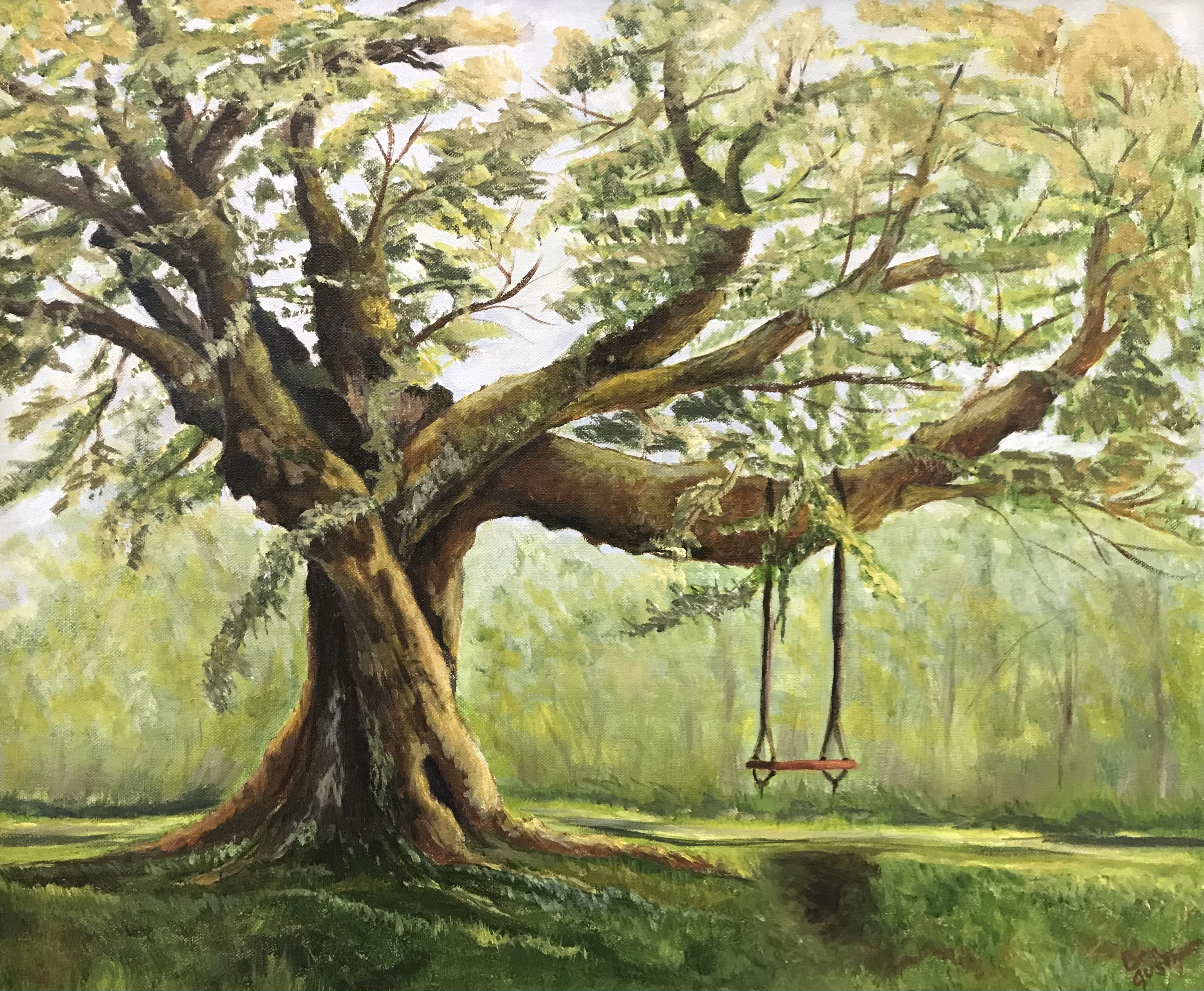 'Empty Swing', oil on canvas by Bea Gustafson ($1,350) ⎼ 'I can still hear the children playing. Through my paintings, I hope to inspire an awareness of the beauty and fragility of our world. An intimate portrait of not so long ago, we can get a glimpse of our natural world bringing us closer to an understanding of ourselves.'