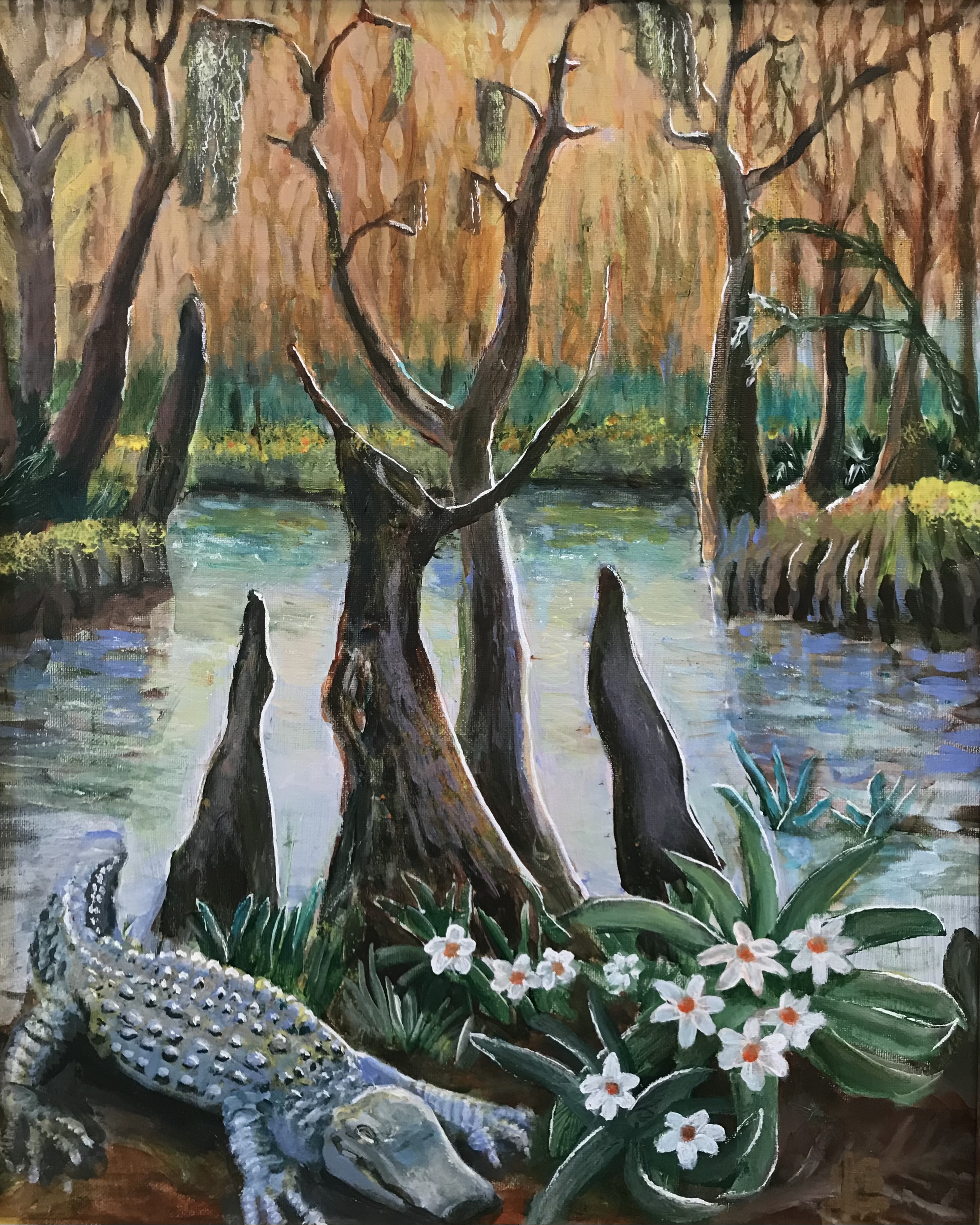 'Swamp/Lovers', acrylic on canvas by Steve Leibowitz ($999) ⎼ 'It's a Florida swamp, with the occasional alligator. But hidden in the negative space are two lovers.'