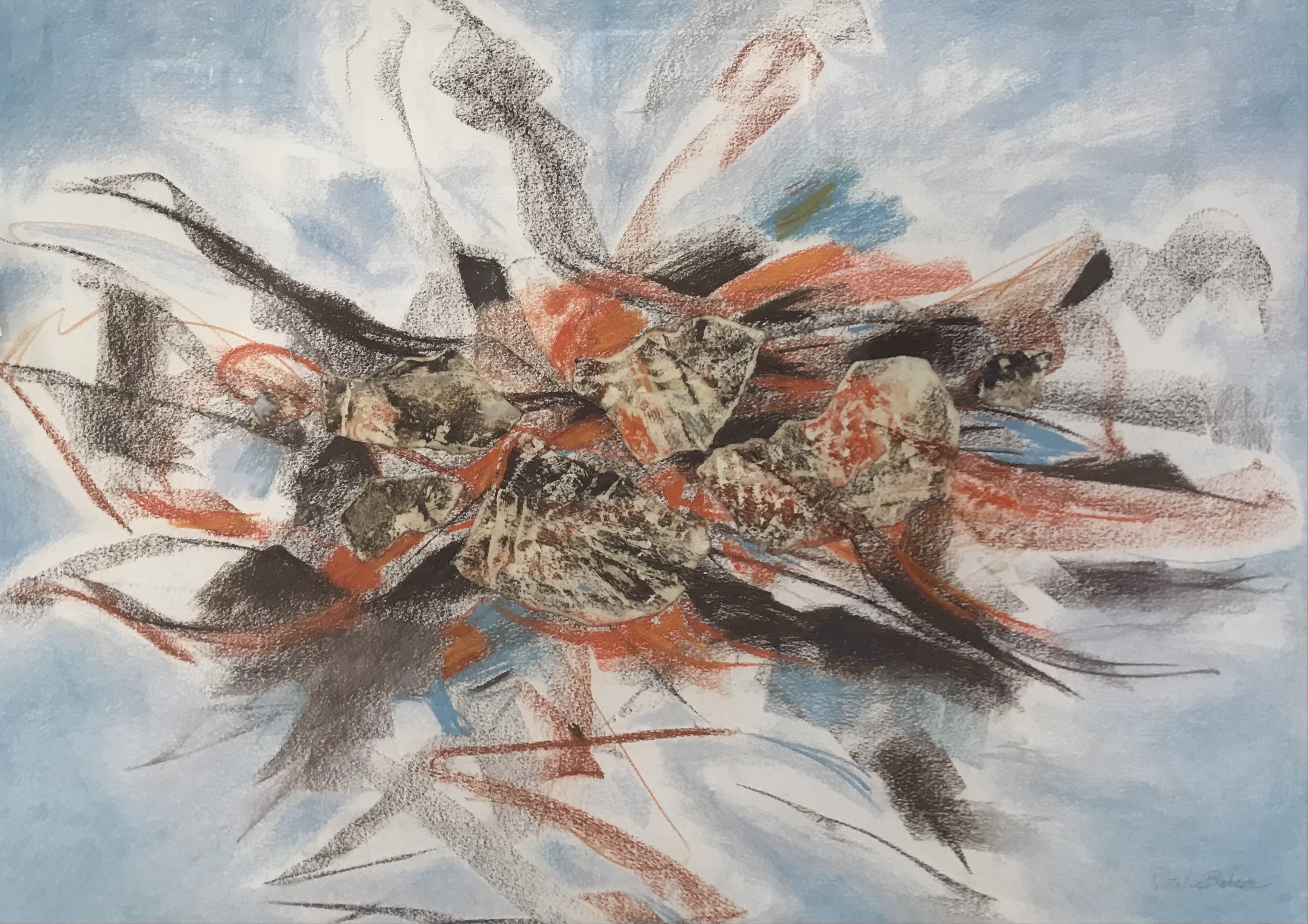 'Blue Sky Interrupted', pastel/collage by Natalie Babson ($750)