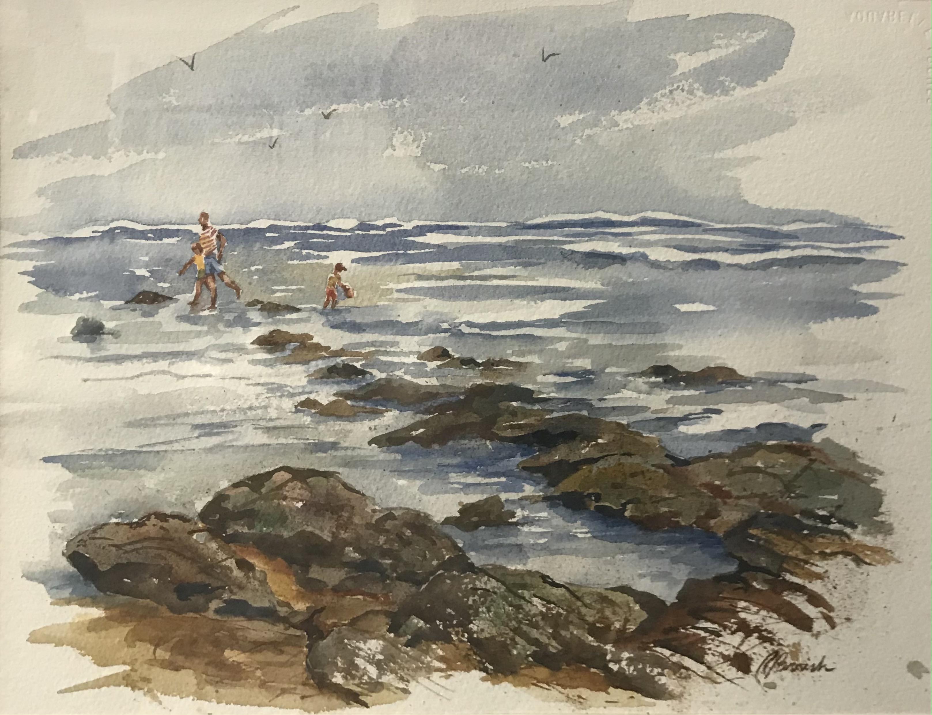 'Beach at Washington Oaks', watercolor by Rosamond Parrish ($350)