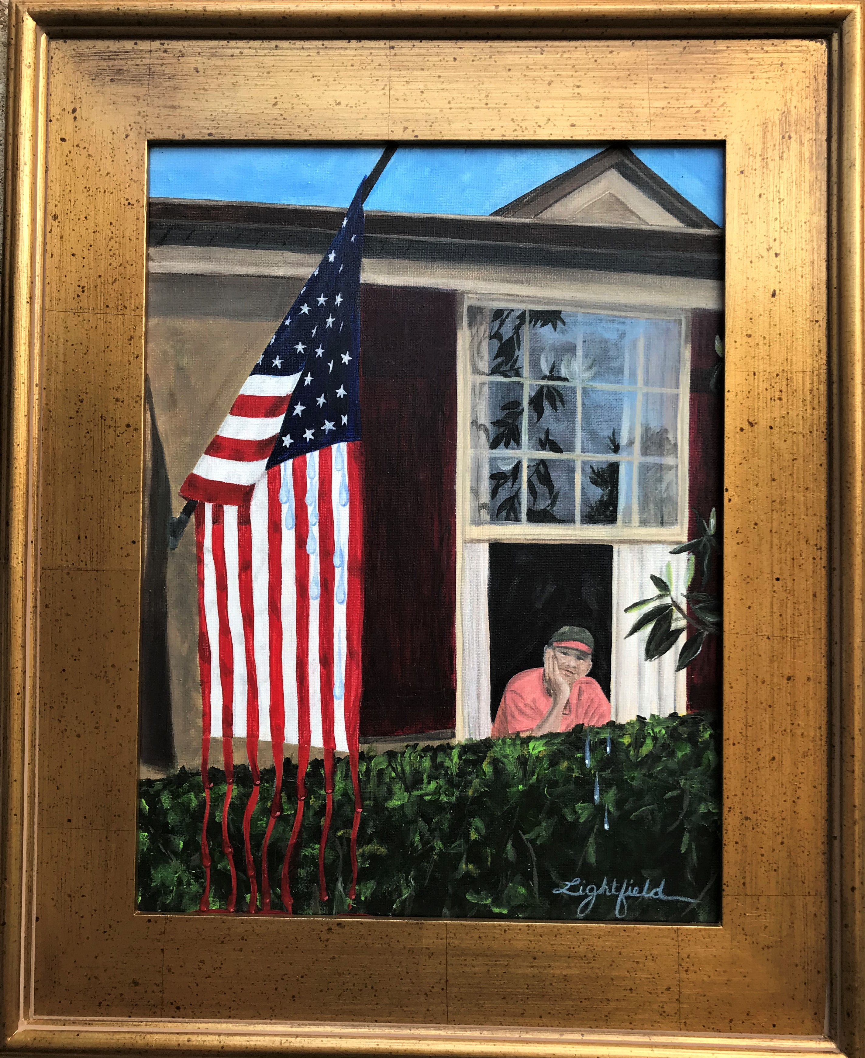 'America at Half-Mast', acrylic on canvas by Deborah Lightfield ($225) ⎼ 'This piece was created in April, in the midst of COVID. We were disheartened that we, America had not followed through with a proactive plan to combat this pandemic. And, here we are with other 200,000 dead loved ones just in the United States. We fly our flag at half-mast because we are in mourning every day. In my painting I have my husband looking out the window in a reflective state. Usually I paint with joy to hopefully convey that feeling. However, this piece was painted with sadness, although, I want to convey hope. I will always fly the American Flag with hope.'