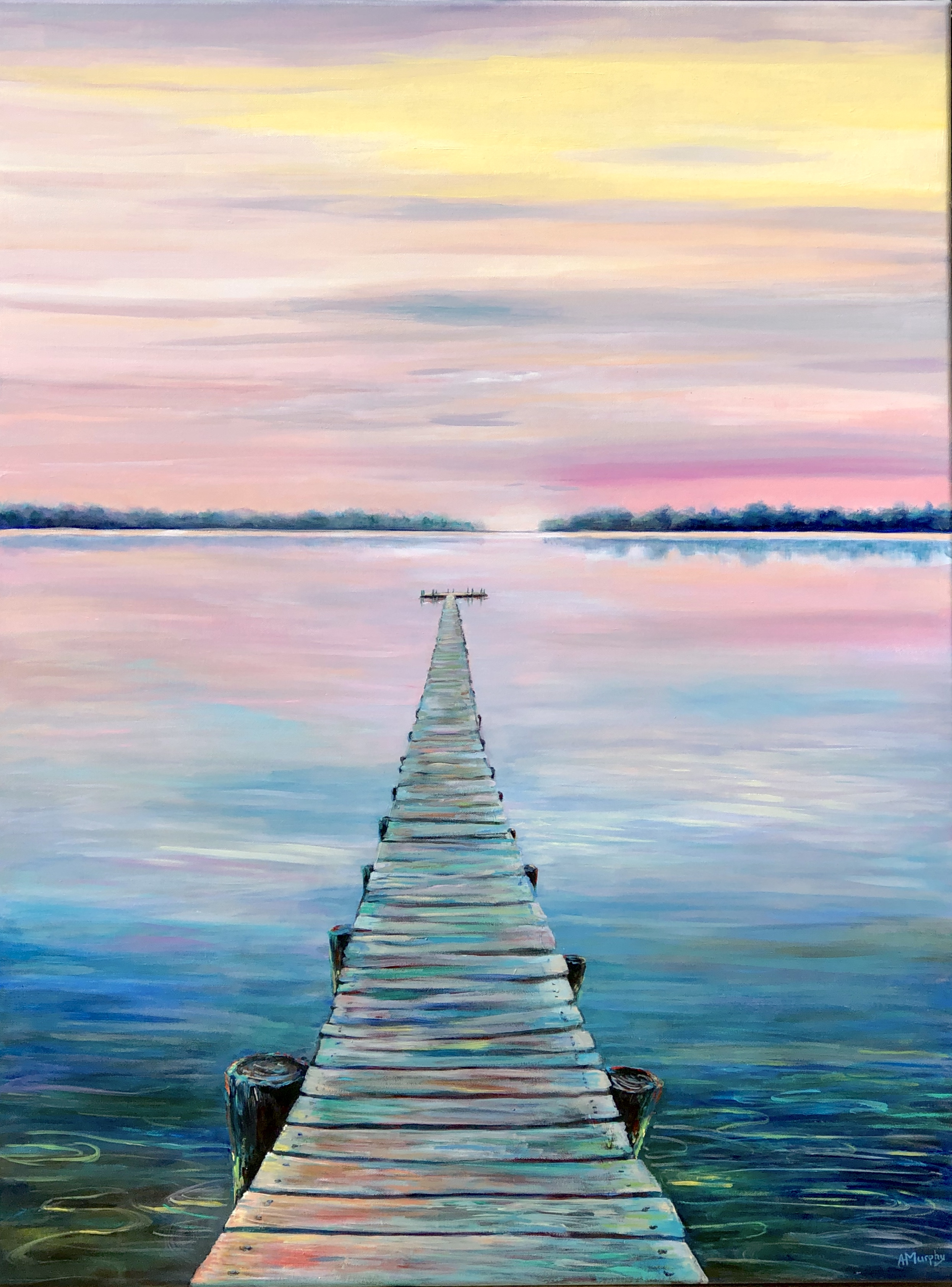 'In the Pink', acrylic by Abby Howard Murphy ($375) ⎼ 'Alone, isolated… and time seems to have frozen while we wait. But, in the distance -- just beyond our reach -- we yearn for the peace, hope and calm we are certain is there, if we follow the path forward across the murky water all around us.'