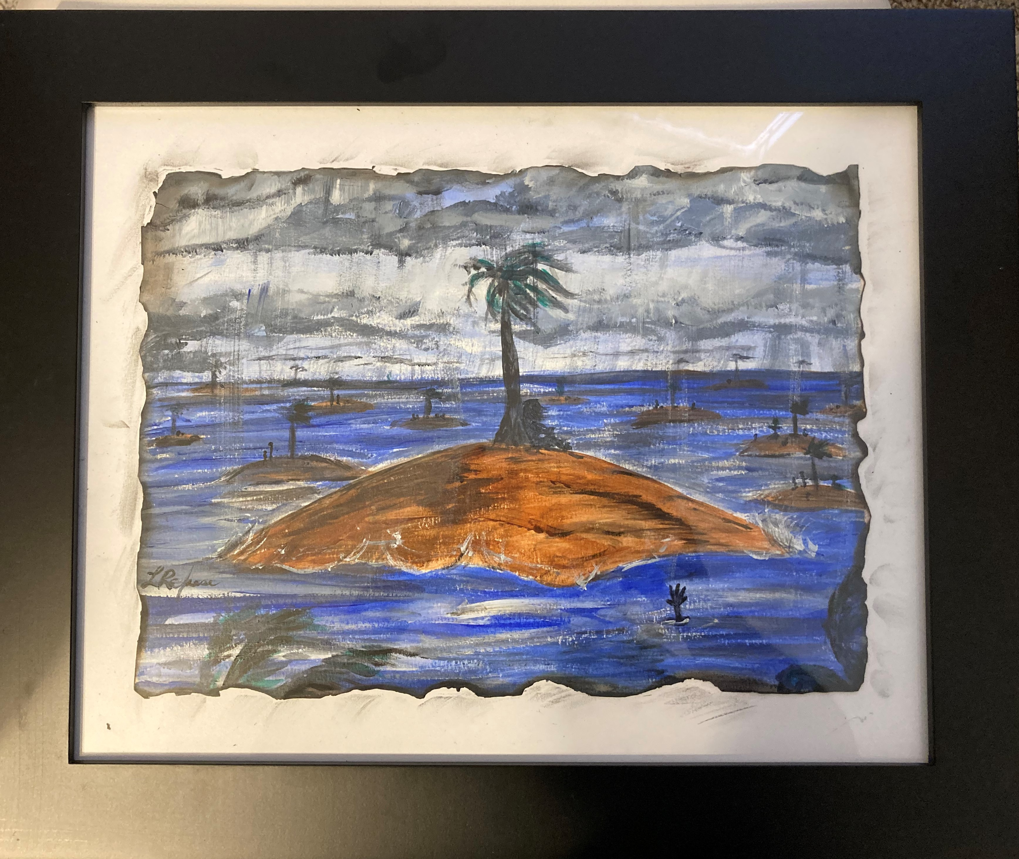 'The Covid Storm', acrylic by Linda Rafuse ($60) ⎼ ' On our lonely islands in the storm of Covid. Some suffering together as families some alone. Suicides increased due to restrictions and social distancing.'