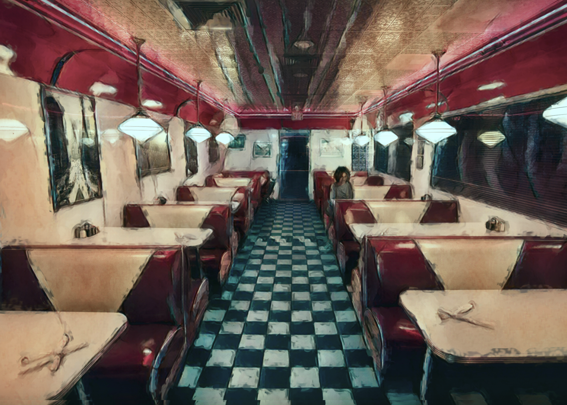 'Distance Diner Dining #1', digitally painted photograph by Dean Stecker ($90) ⎼ 'Matted in 11 x 14 frame.'