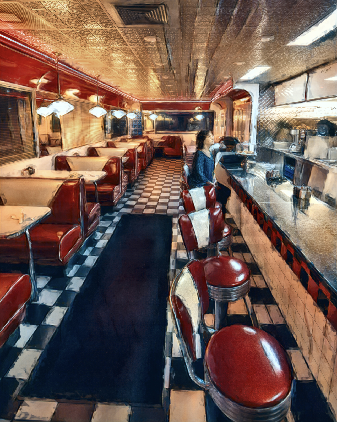 'Distance Diner Dining #2', digitally painted photograph by Dean Stecker ($90) ⎼ 'Matted in 11 x 14 frame.'