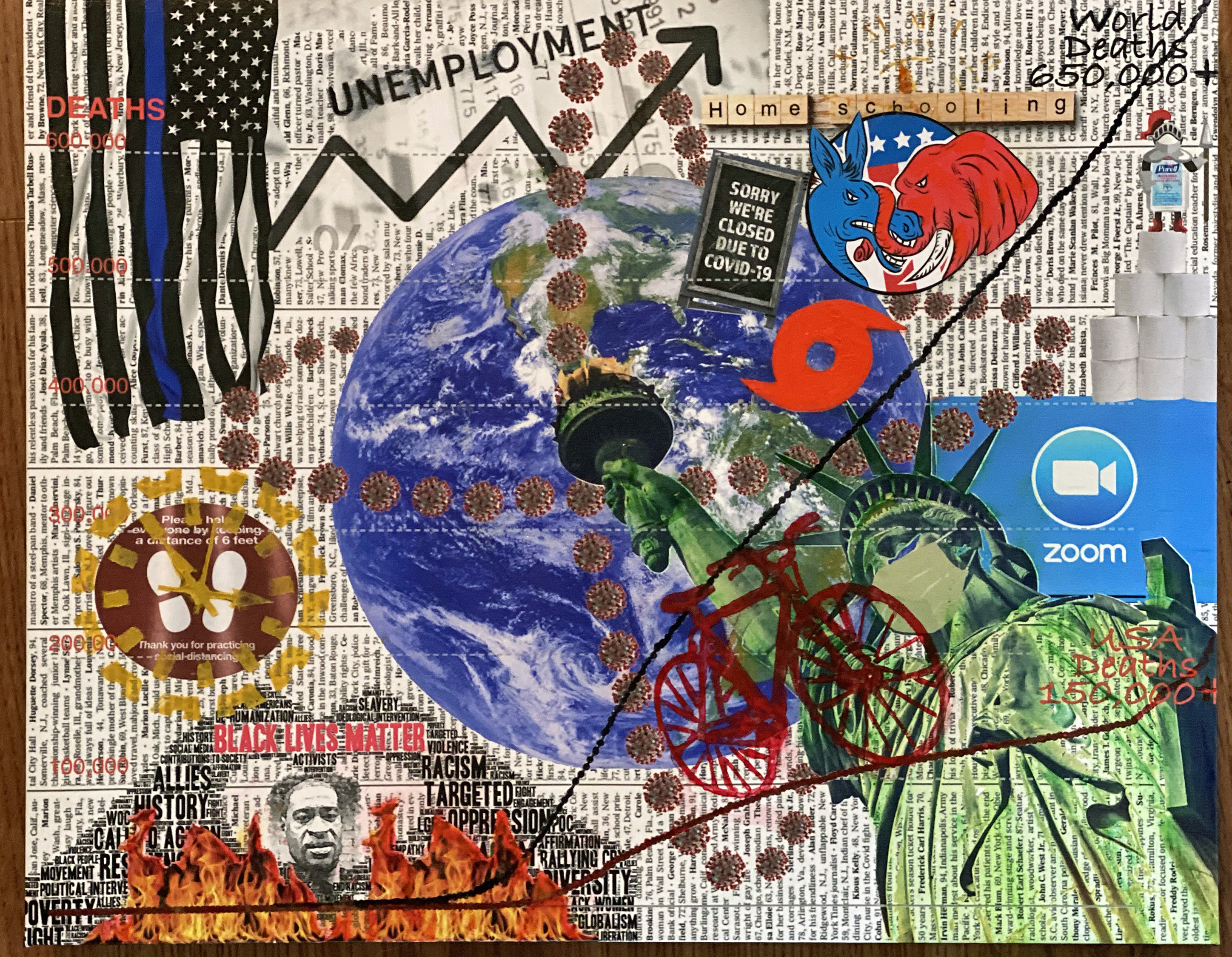 'My World 2020', mixed media by Avery St. Jean ($199) ⎼ 'My inspiration for this piece started with the May 24th, Sunday New York Times front page. The headline was: 'U.S. Deaths near 100,000 … They Were Not Simply Names. They Were Us.' The very next day, May 25th, George Floyd is killed during an arrest for passing a counterfit $20 bill in Minneapolis. The world now seemed to spiral out of control as protests, riots, looting was as rampat as the virus. People everywhere were tired of the shut downs, quarantines and shortages everywhere. To sum it up with a quote from one of my favorite movies, 'Network', Howard Beale says: 'We know things are bad - worse than bad. They're crazy. It's like everything everywhere is going crazy, so we don't go out anymore. We sit in the house, and slowly the world we are living in is getting smaller... I'm mad as hell, and I'm not gonna take this anymore!''