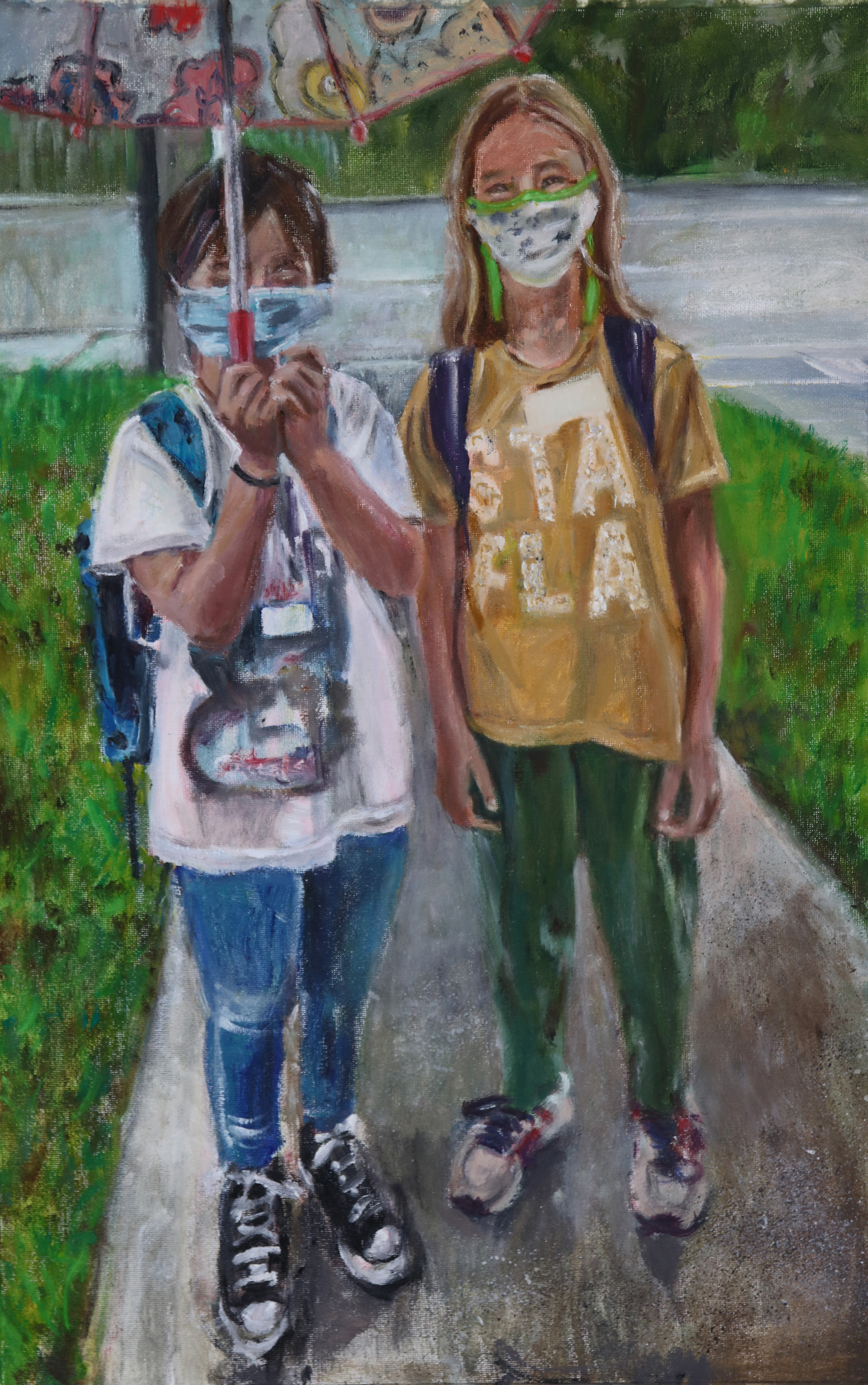 'Back to School', oil on canvas by Elaine Stecker ($350)