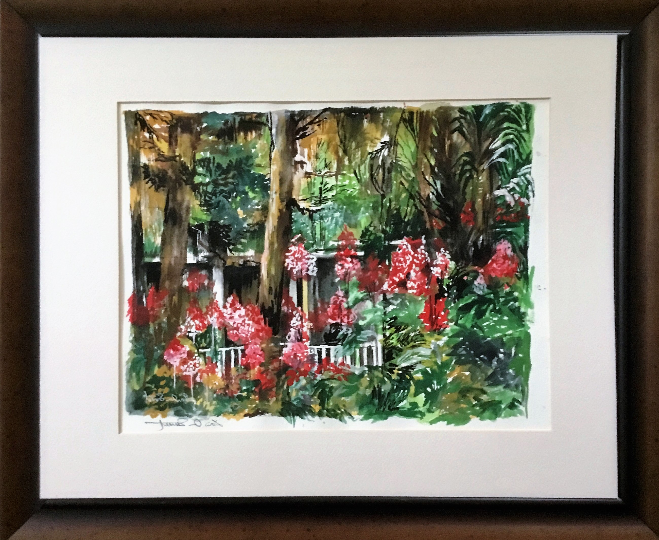 'Hidden Amongst the Gardens - Melrose, Florida', watercolor on paper by Lori Sweet ($195) ⎼ 'The one place I seem to find peace is in our gardens beds. Something therapeutic about gardening. I forget about life itself and can hide amongst the aloe and birds of paradises. Smething wonderful about seeing your gardens thrive into full bloom. Again I find peace and serenity in my gardens.'