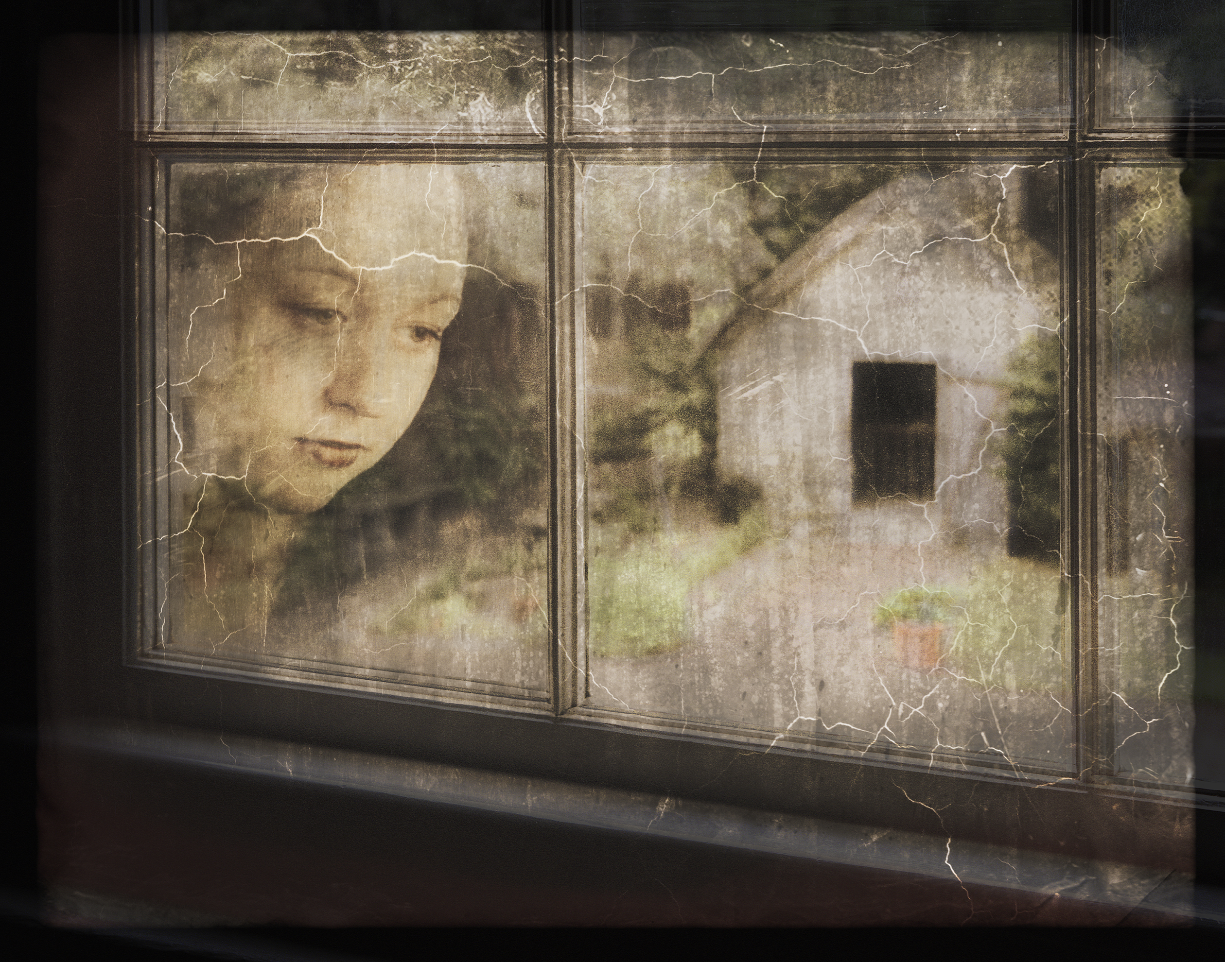 'Yearning', photographic art by Kathleen Warren ($250) ⎼ 'Is she yearning to be outside or is it me yearning to be free? This image was inspired by the story of Maria/Mary from the Gonzalez-Alvarez house ('Oldest House' in Saint Augustine. Like this young woman, I find myself yearning for something.'