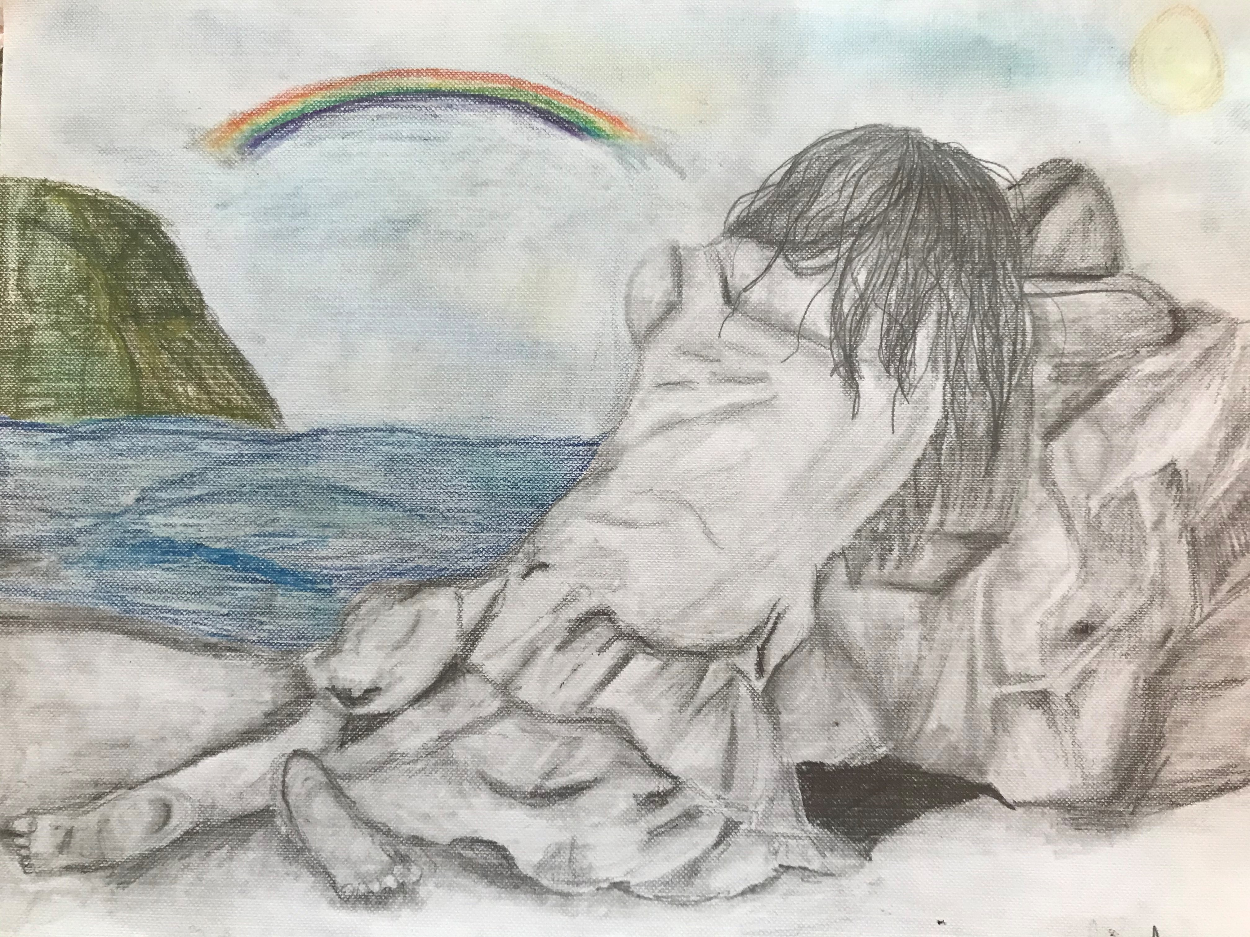 'They Enjoy My Rain', pencil and charcoal by Aury Ebner Winkler ($75) ⎼ 'After 7 months in quarantine, while struggling with mental health, it feels like my rain clouds are a blessing for those who are not isolated from society.'
