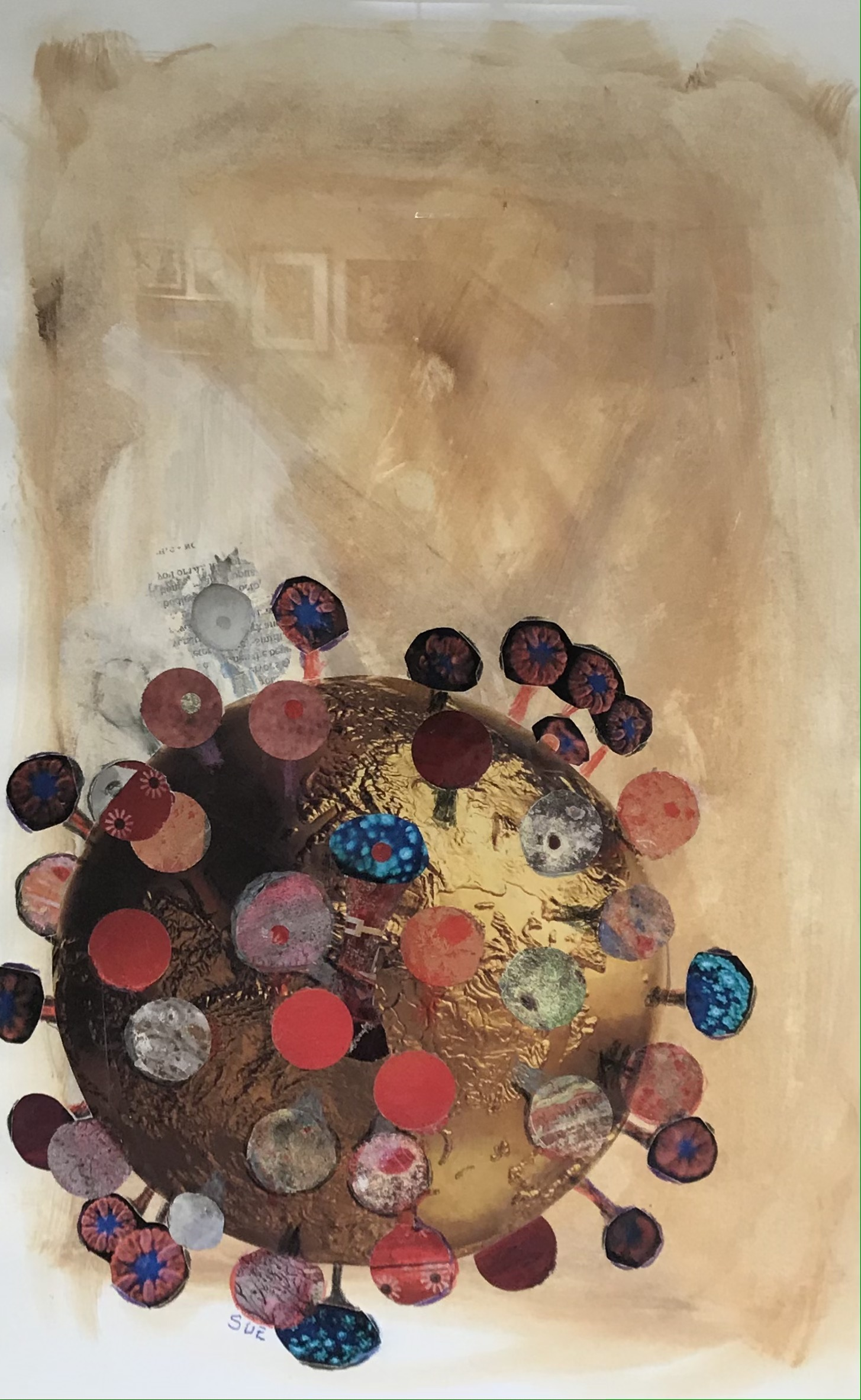 'Virus Imagining', collage and acrylic by Susan Moxon ($300)