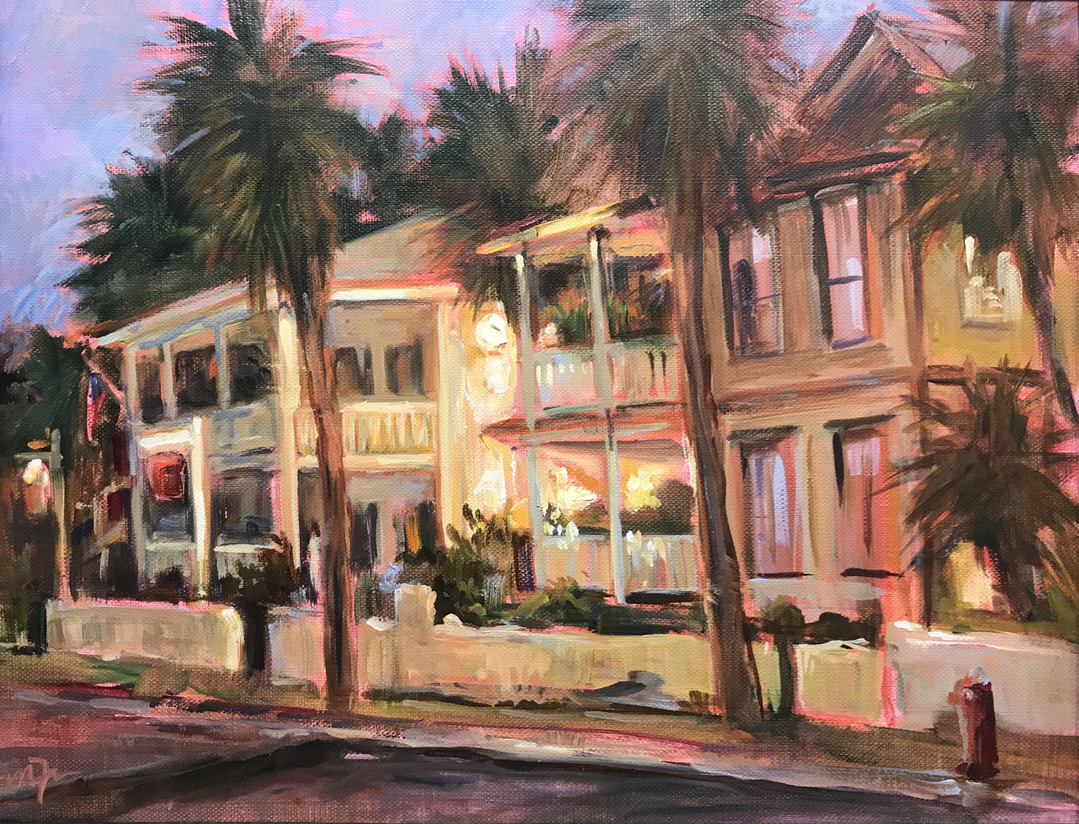 'Evening Lights on the Bayfront', oil by Martha Ferguson ($595) ⎼ 'My plan was to head to the bay front and say good bye to the Santa Maria. While feeling melancholy the sun started to set and the street lights came on. I was inspired by the beauty of the evening lights in this work.'