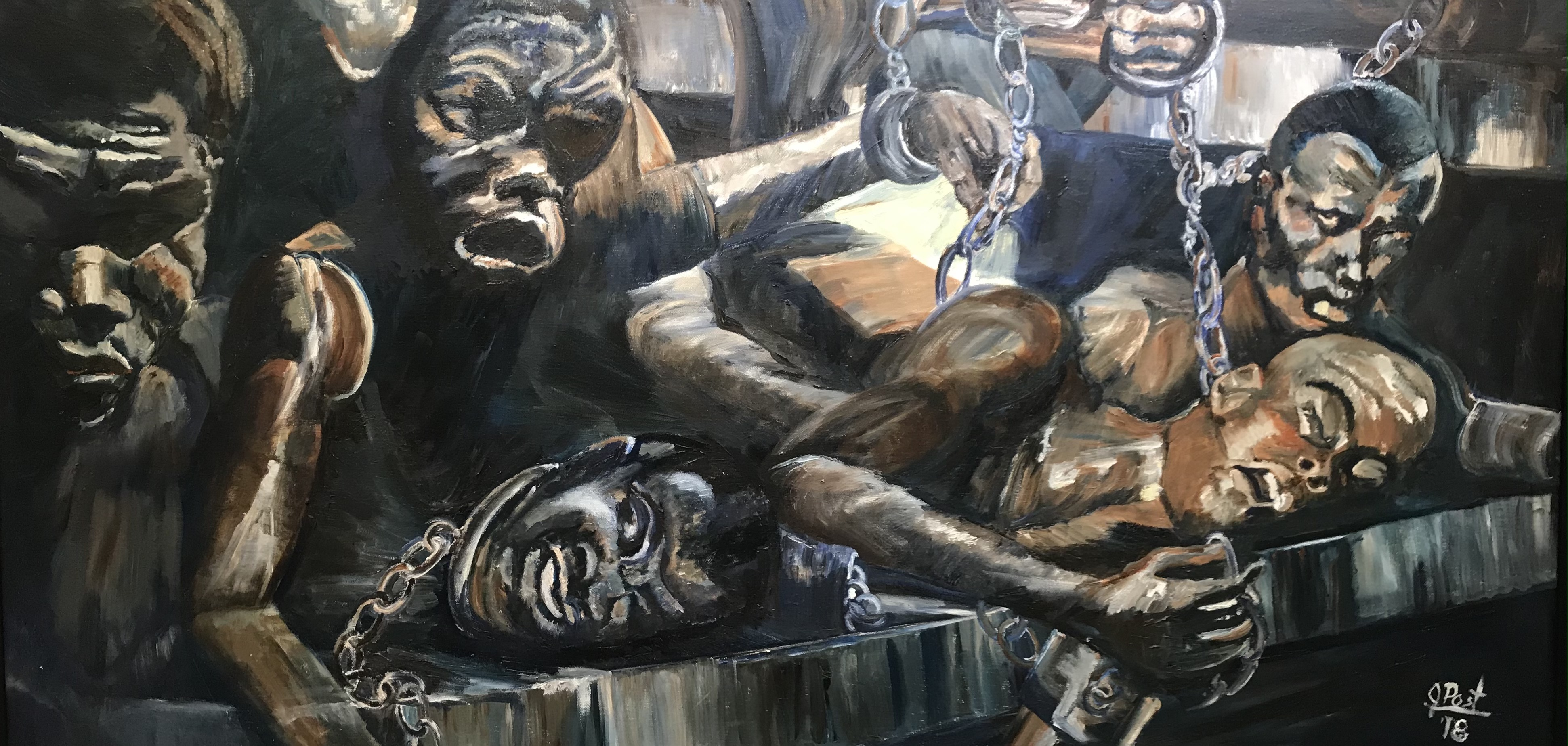 'Slaves', oil by Janet Post ($1,500) ⎼ 'Black Lives Matter has always mattered to me. I'm particularly saddened by the plight of the slaves on their long journey from Africa so I painted it.'